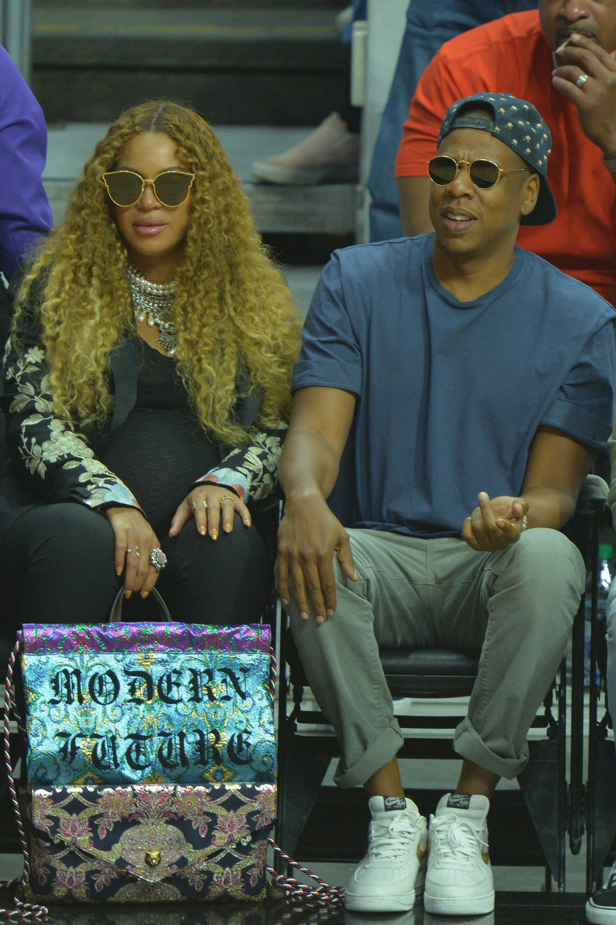 Beyonce and Jay Z attend the Utah Jazz vs Los Angles Clippers NBA Western Conference Game in Los Angeles on April 30, 2017.