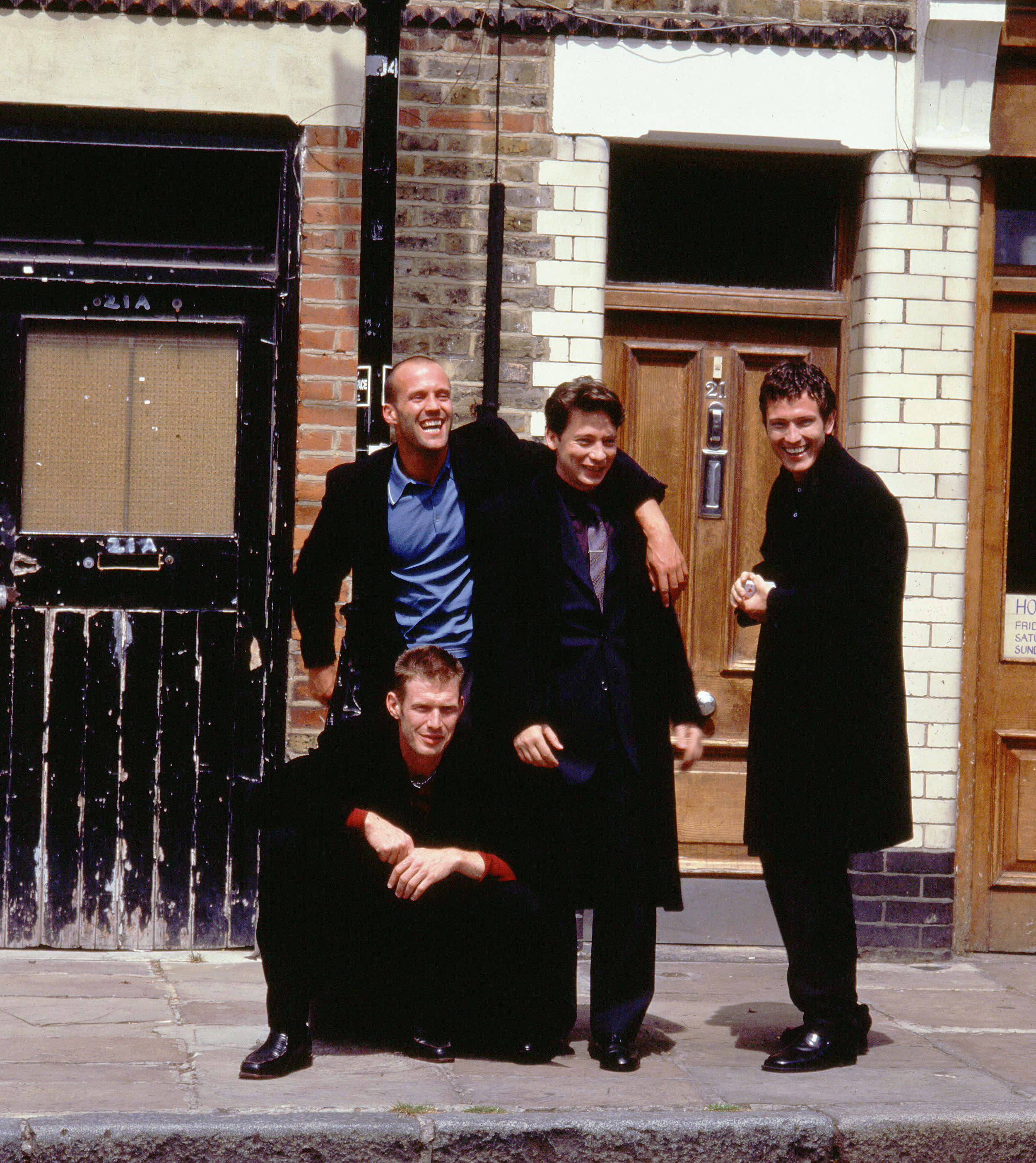 "Jason Statham, Jason Flemyng, Dexter Fletcher and Nick Moran appear on the movie poster for 1998's ""Lock, Stock and Two Smoking Barrels."""