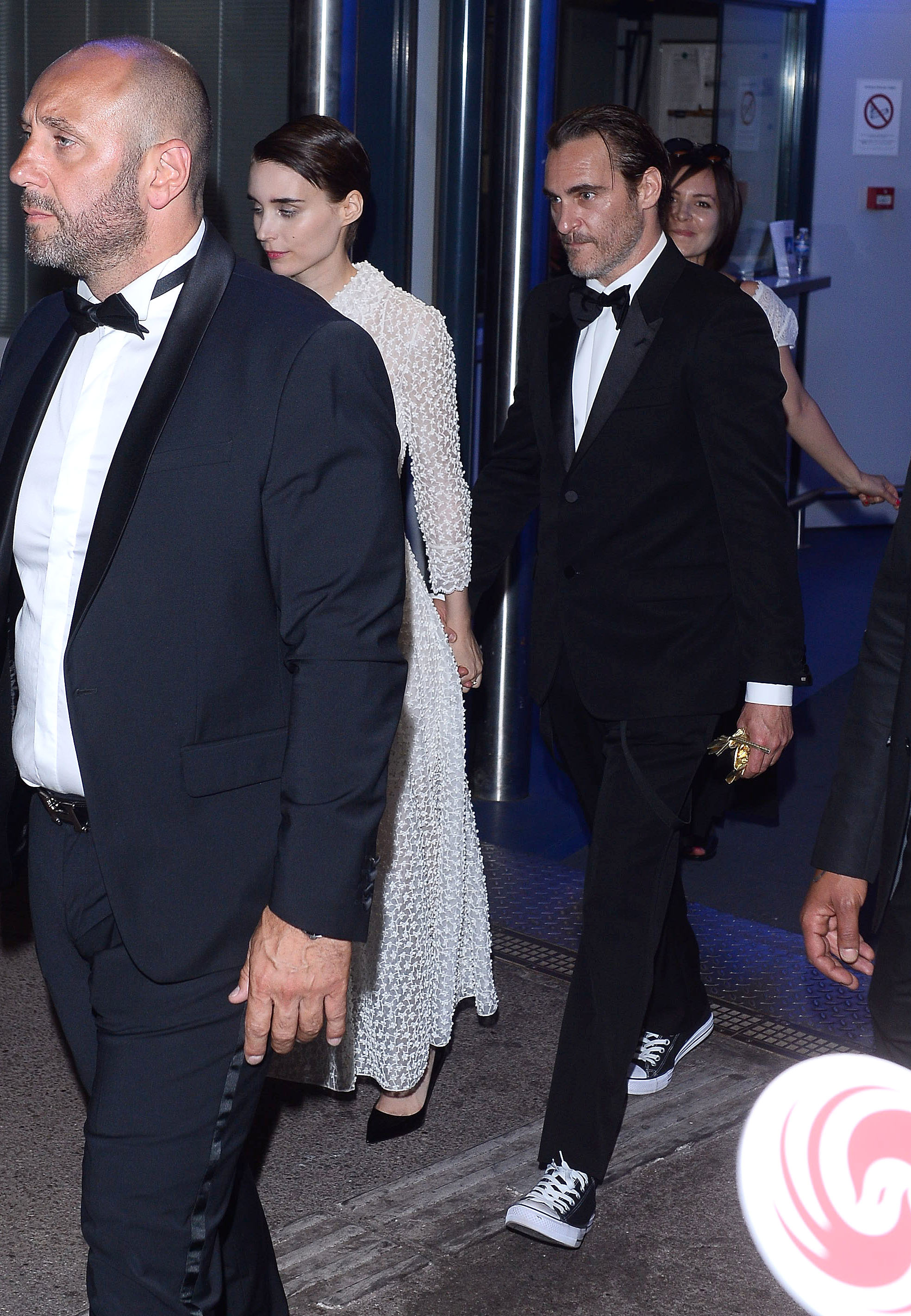 Joaquin Phoenix and Rooney Mara leave the Palais des Festivals et des Congrès on the closing night of the Cannes Film Festival on May 30, 2017.