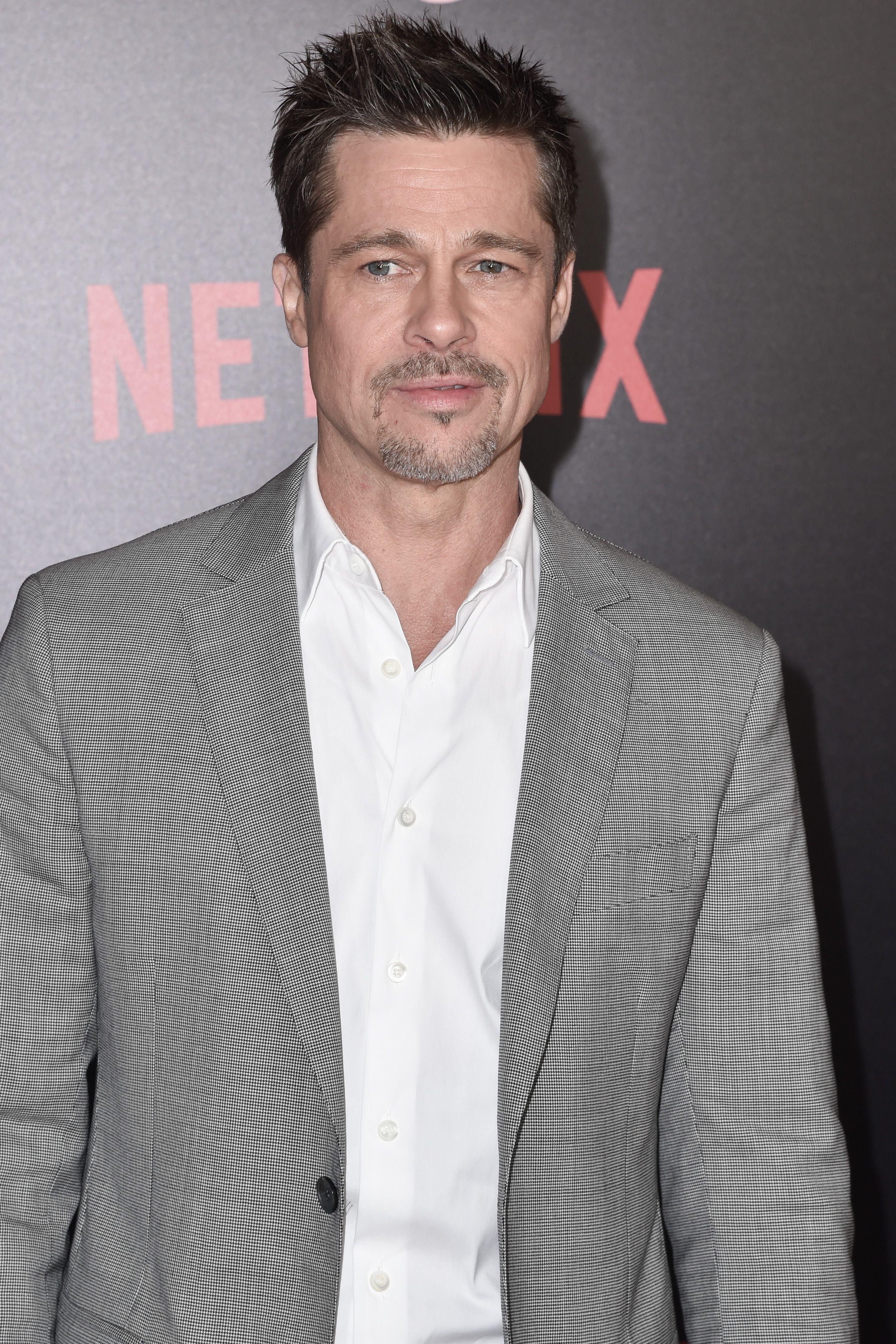"Brad Pitt attends the ""Okja"" film premiere in New York City on June 8, 2017."