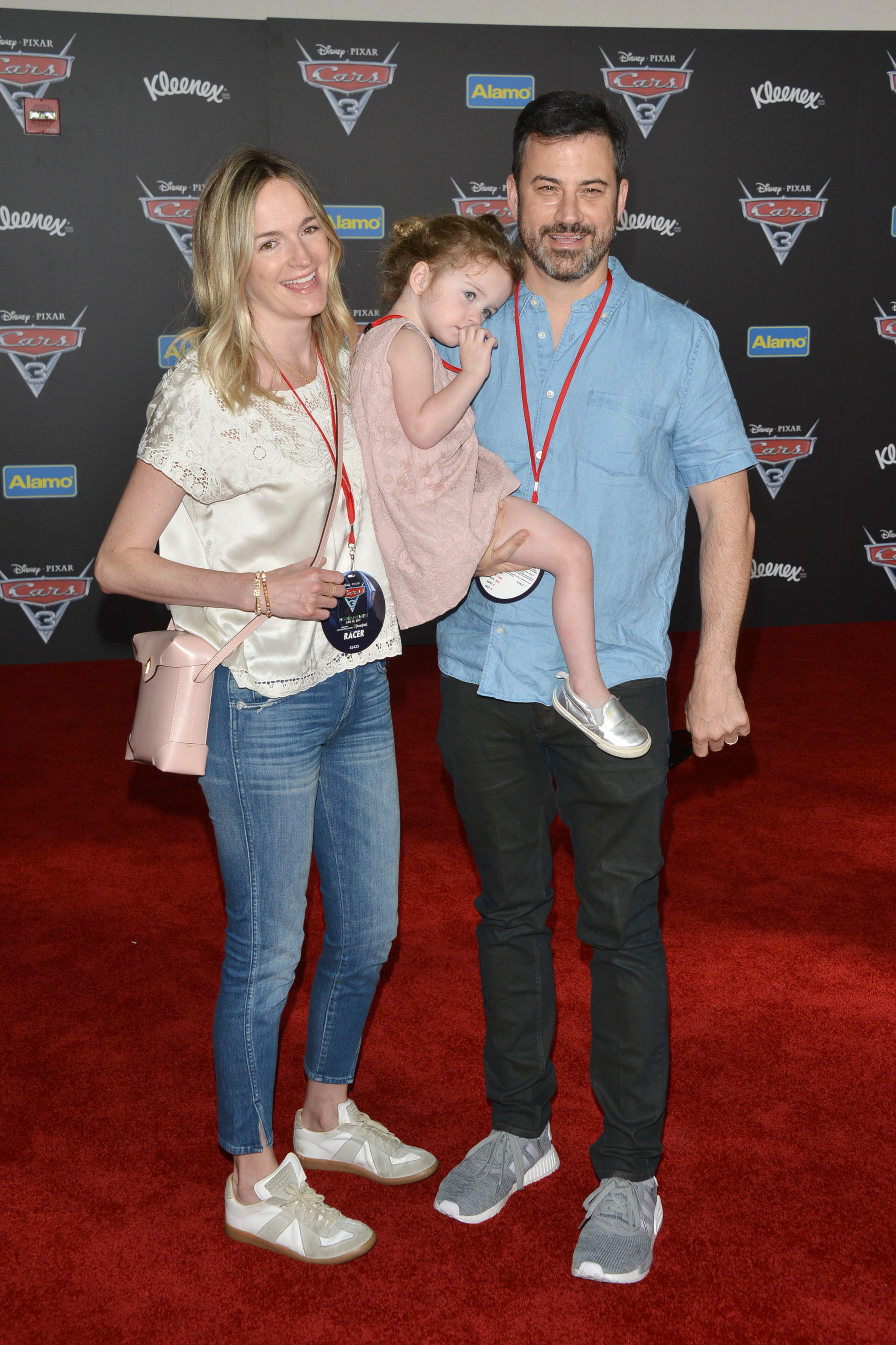 """Jimmy Kimmel, wife Molly McNearney and their daughter, Jane, attend the world premiere of Disney and Pixar's """"Cars 3"""" at the Anaheim Convention Center in Anaheim, California, on June 10, 2017."""