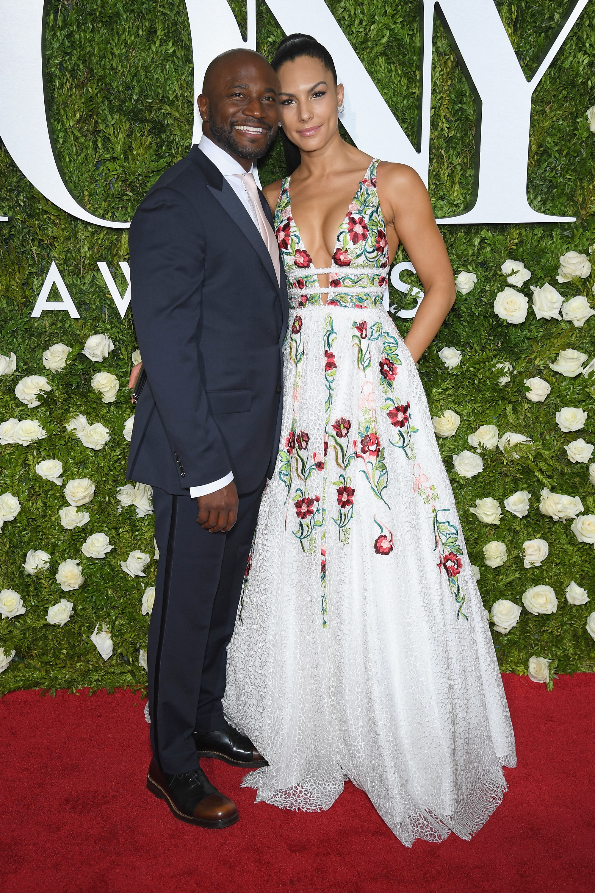 Taye Diggs and Amanza Smith Brown arrive at the Tony Awards at Radio City Music Hall in New York City on June 11, 2017.