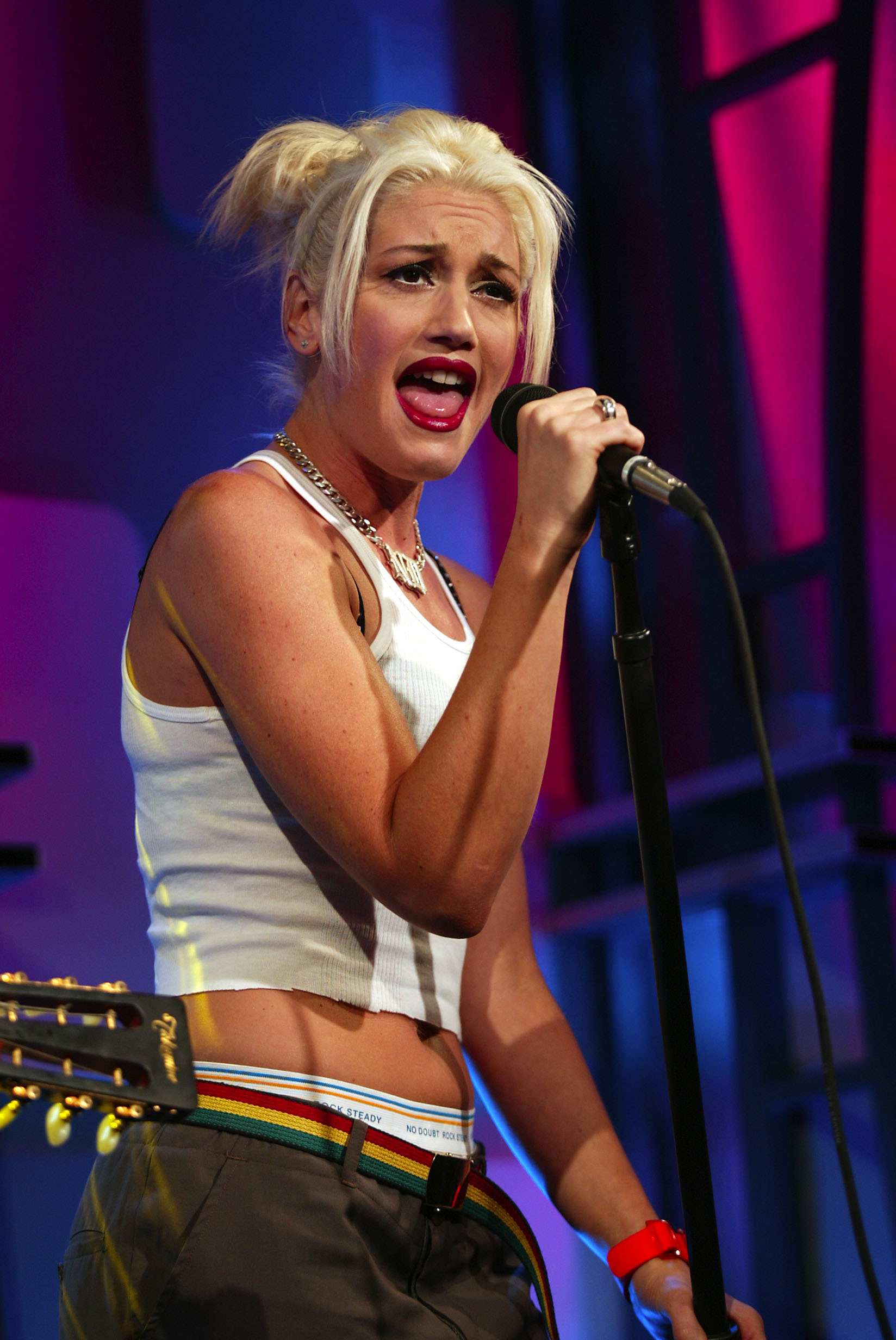 "Gwen Stefani appears on MTV's ""Total Request Live"" in New York City on Oct. 23, 2002."