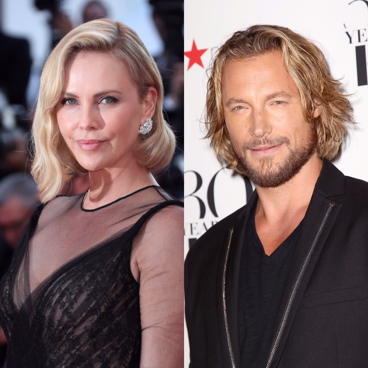 Charlize Theron and Gabriel Aubry composite from 2017.