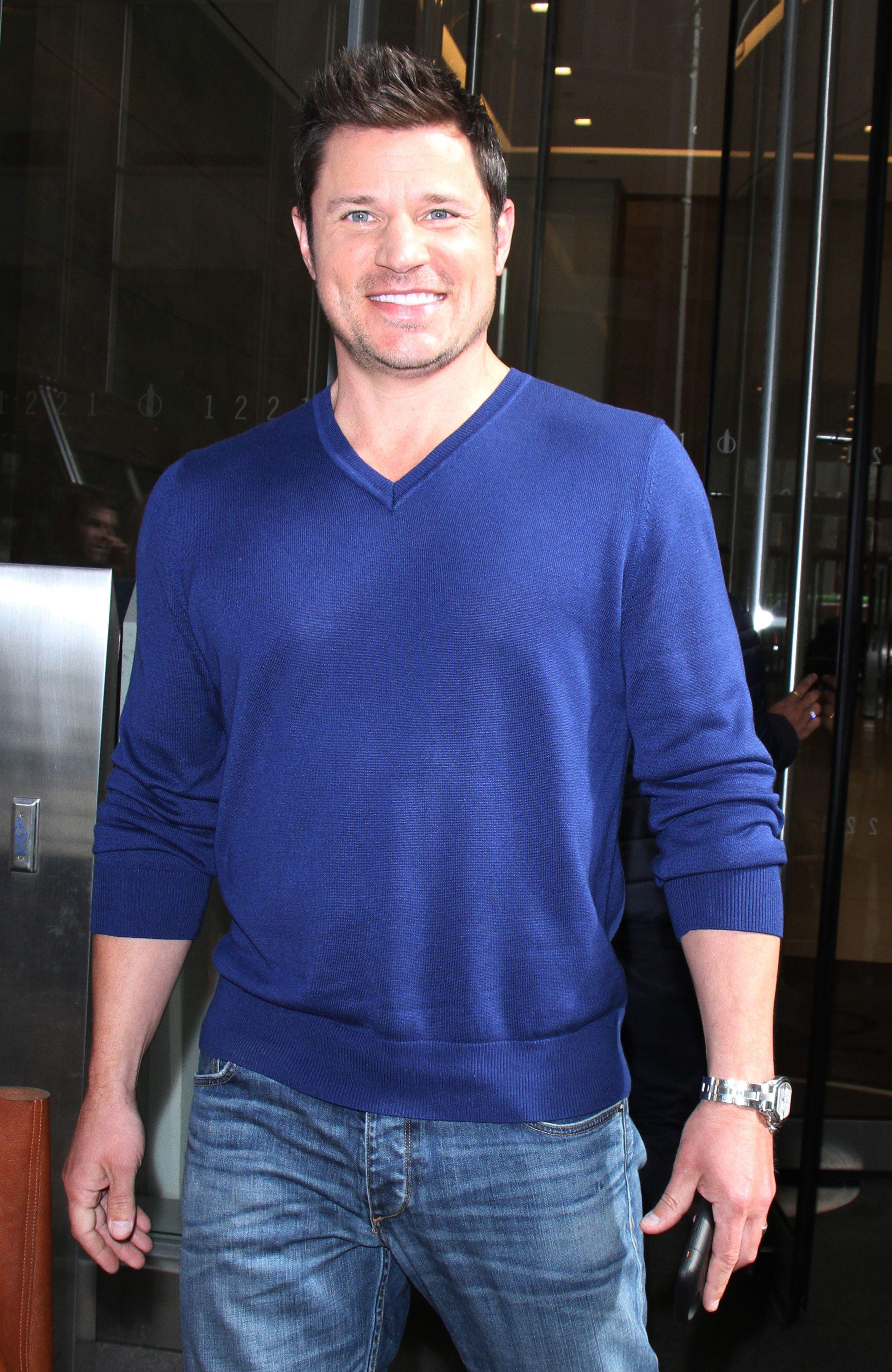 Nick Lachey leaves SiriusXM Studios in New York City on April 5, 2017.