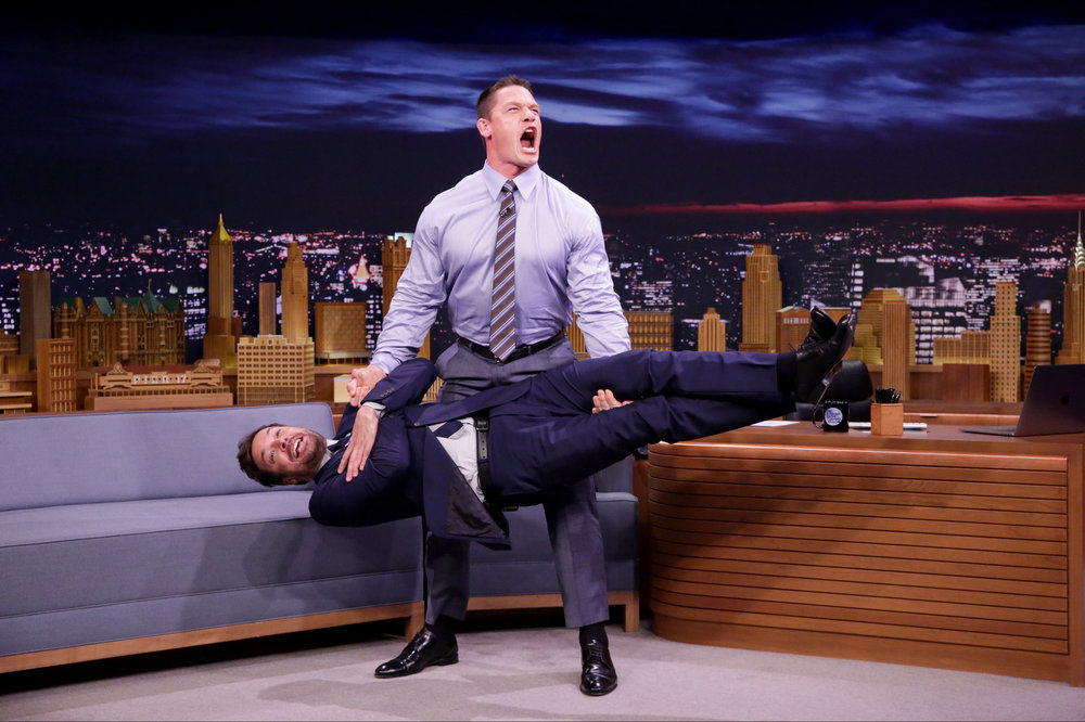John Cena is seen during an interview with Jimmy Fallon in New York City on June 9, 2017.