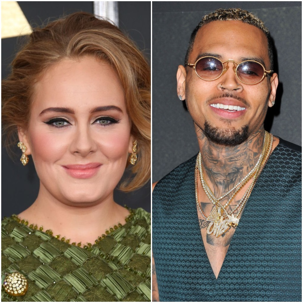 "Adele arrives at The 59th GRAMMY Awards at Staples Center in Los Angeles on Feb. 12, 2017. Chris Brown attends the premiere of Fathom Events' ""Chris Brown: Welcome To My Life"" at Regal LA Live Stadium 14 in Los Angeles on June 6, 2017."