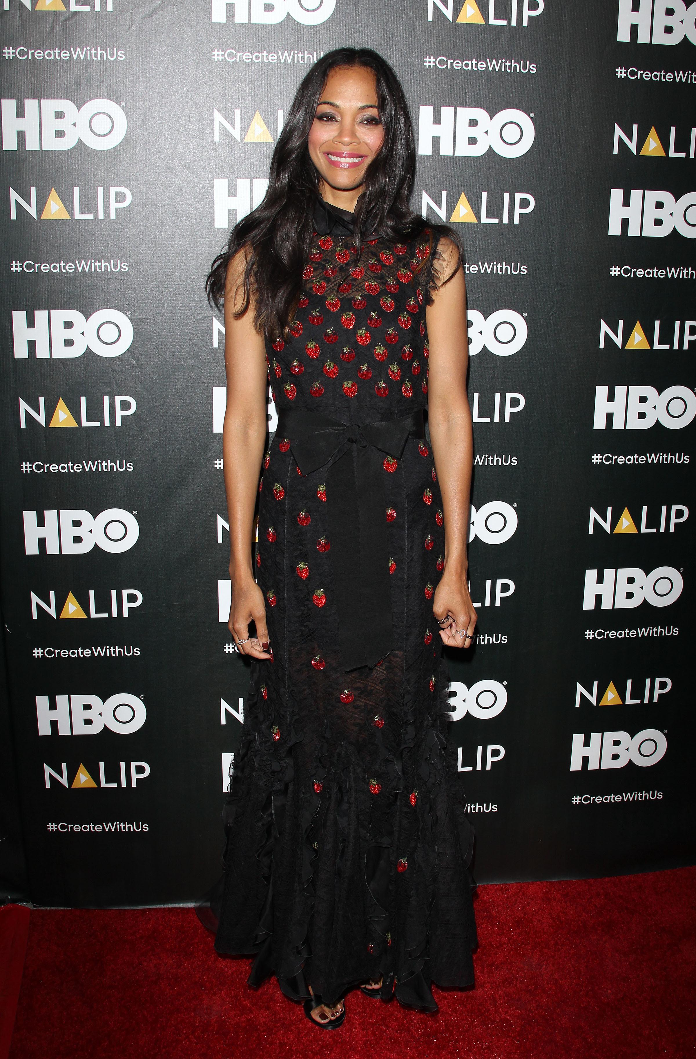 Zoe Saldana attends the NALIP Latino Media Awards in Los Angeles on June 24, 2017.