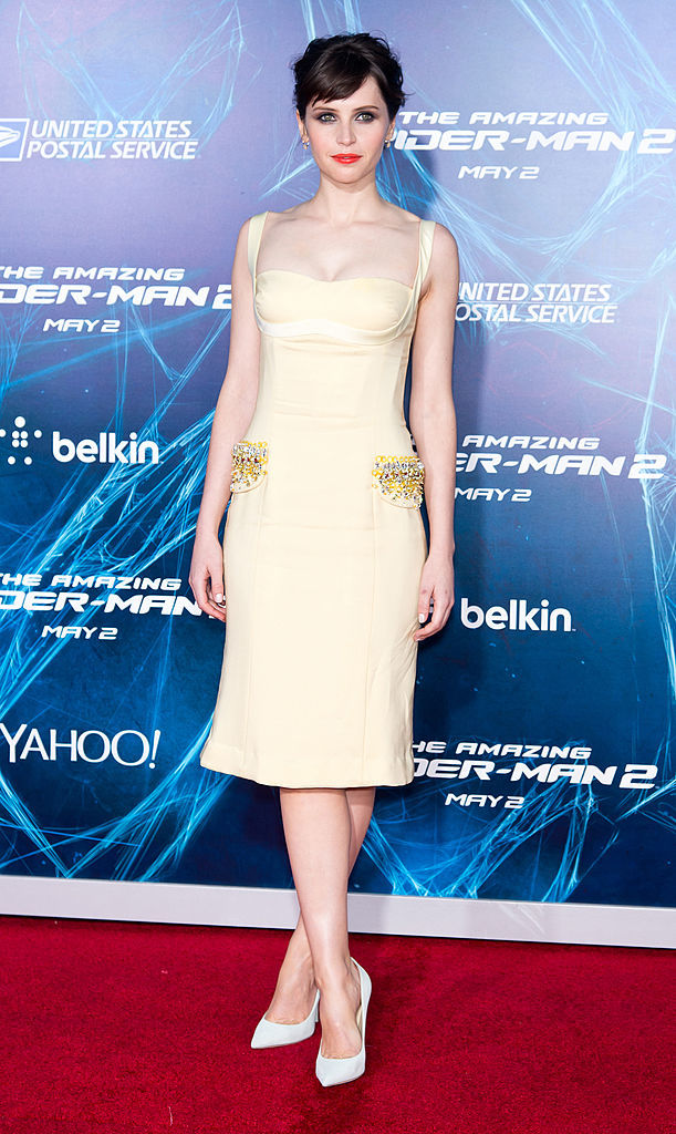 "Felicity Jones attends the premiere of ""The Amazing Spider Man 2"" at the Ziegfeld Theater in New York City on April 24, 2014."