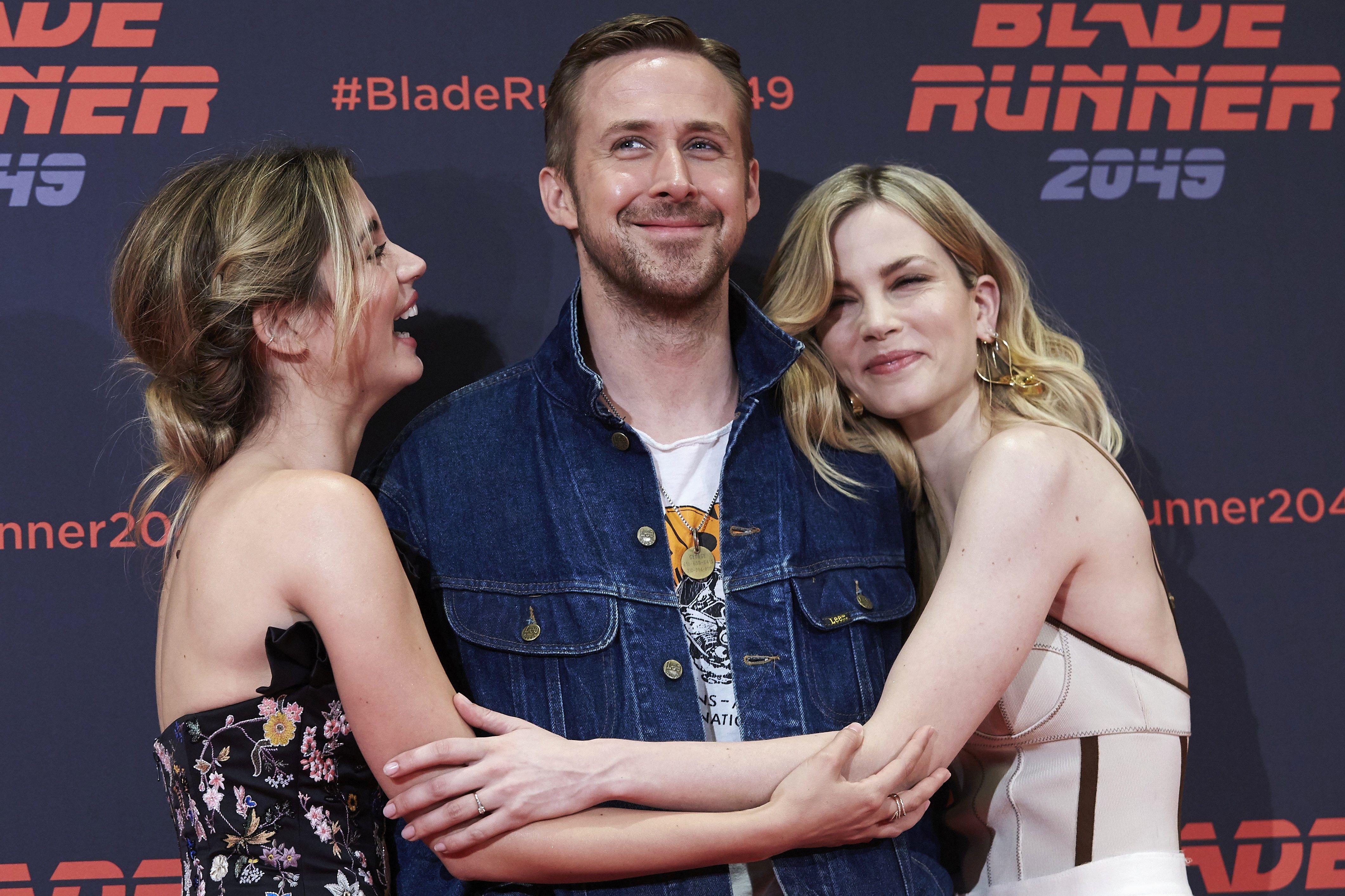 "Ryan Gosling, Ana de Armas and Sylvia Hoeks attends the ""Blade Runner 2049"" photocall in Barcelona, Spain on June 19, 2017."
