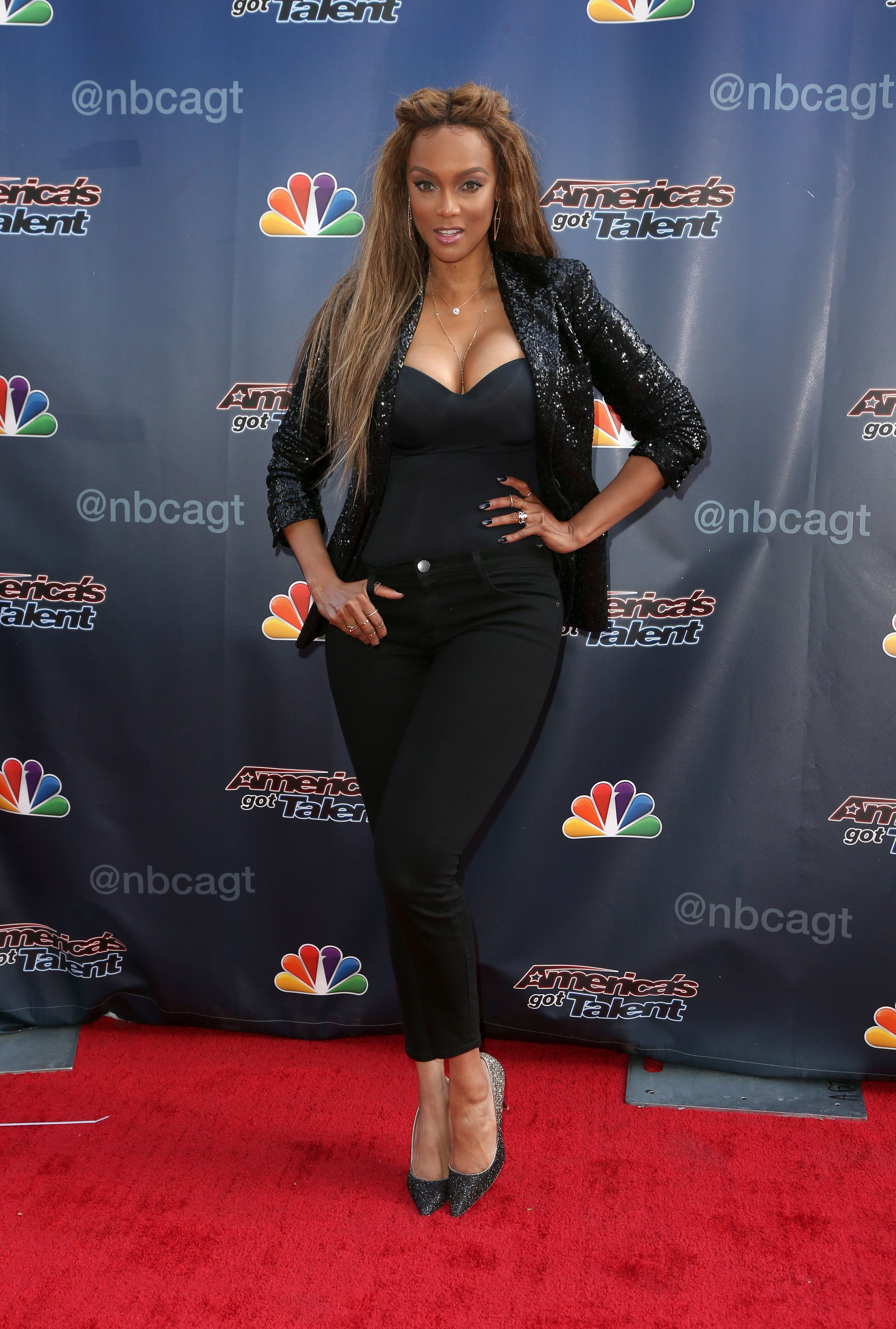 "Tyra Banks attends the ""America's Got Talent"" TV show photocall in Los Angeles on July 5, 2017."