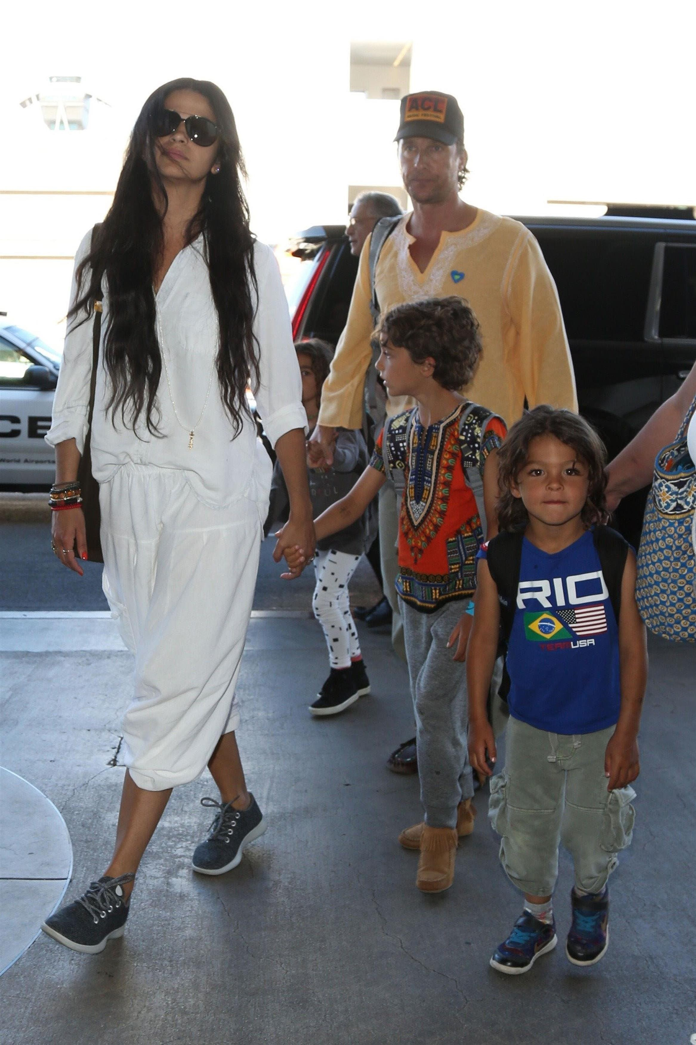 Matthew McConaughey and Camila Alves arrived at LAX with their kids Levi, Livingston, and Vida McConaughey on June 27, 2017.