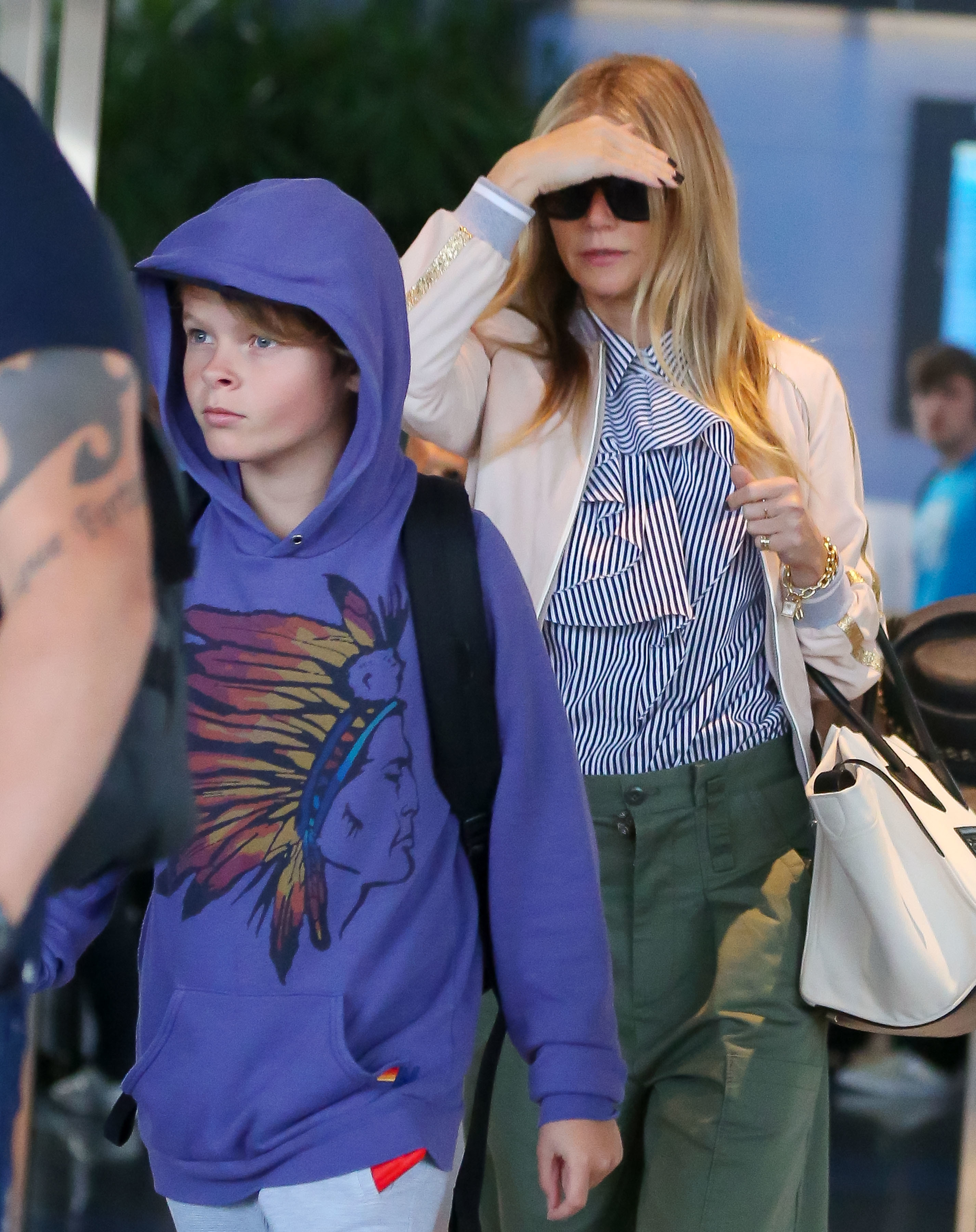 Gwyneth Paltrow and son Moses Martin arrived at JFK Airport in New York City after a fun vacation in Spain on June 28, 2017.