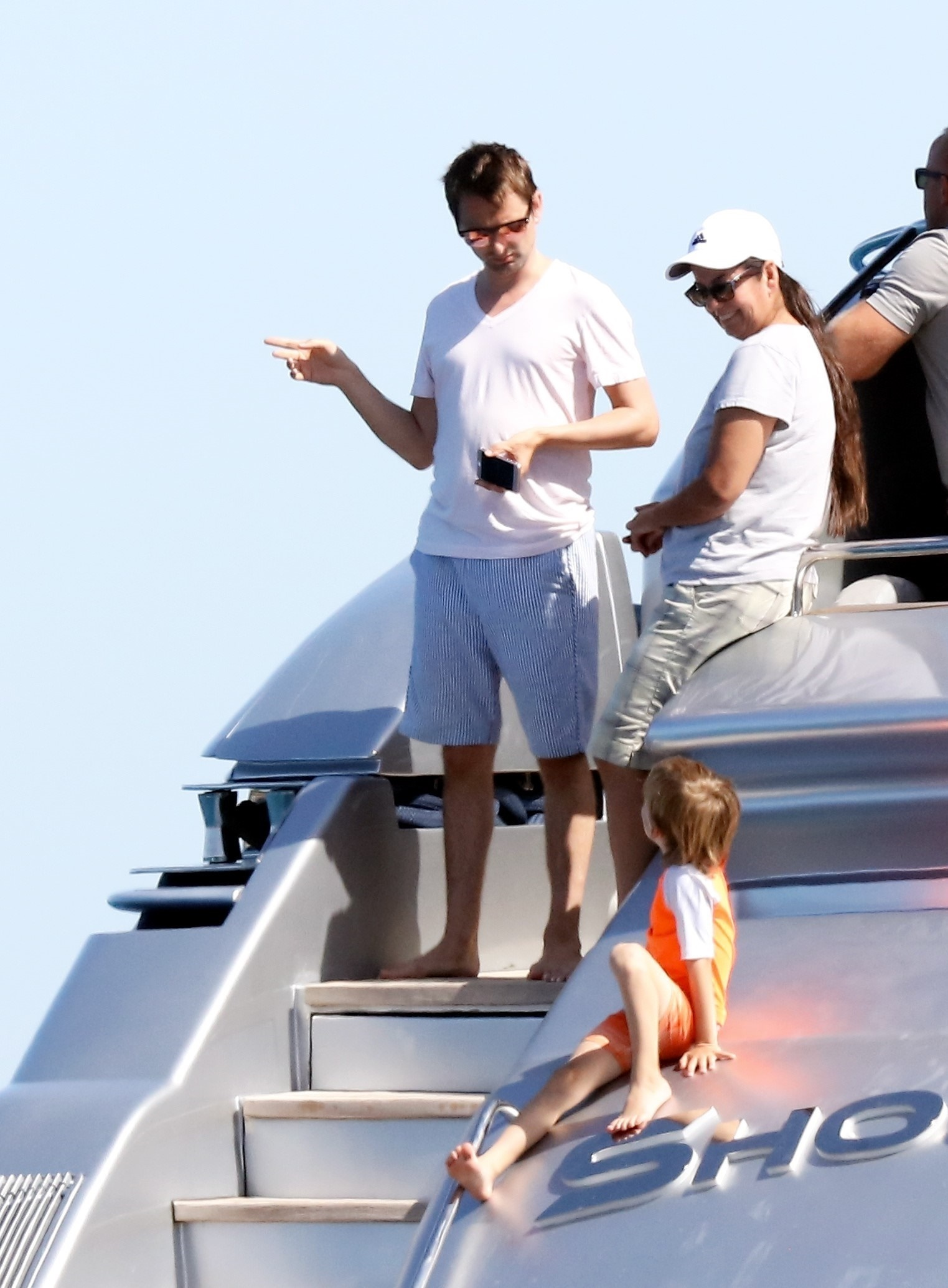 Musician Matthew Bellamy and his son with Kate Hudson, Bingham, were seen on a yacht in Saint Tropez, France, on July 5, 2017.
