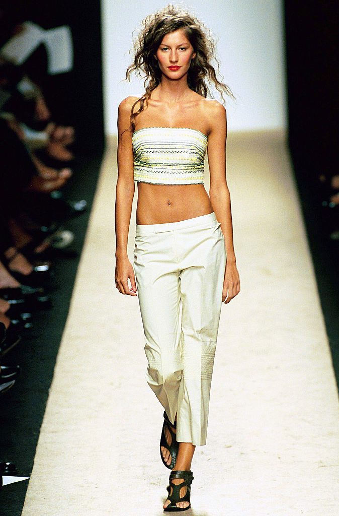 Gisele Bundchen walks the runway at the BCBG Spring/Summer Ready to Wear during the New York Fashion Week 2000 in New York City on Sep. 22, 1999.