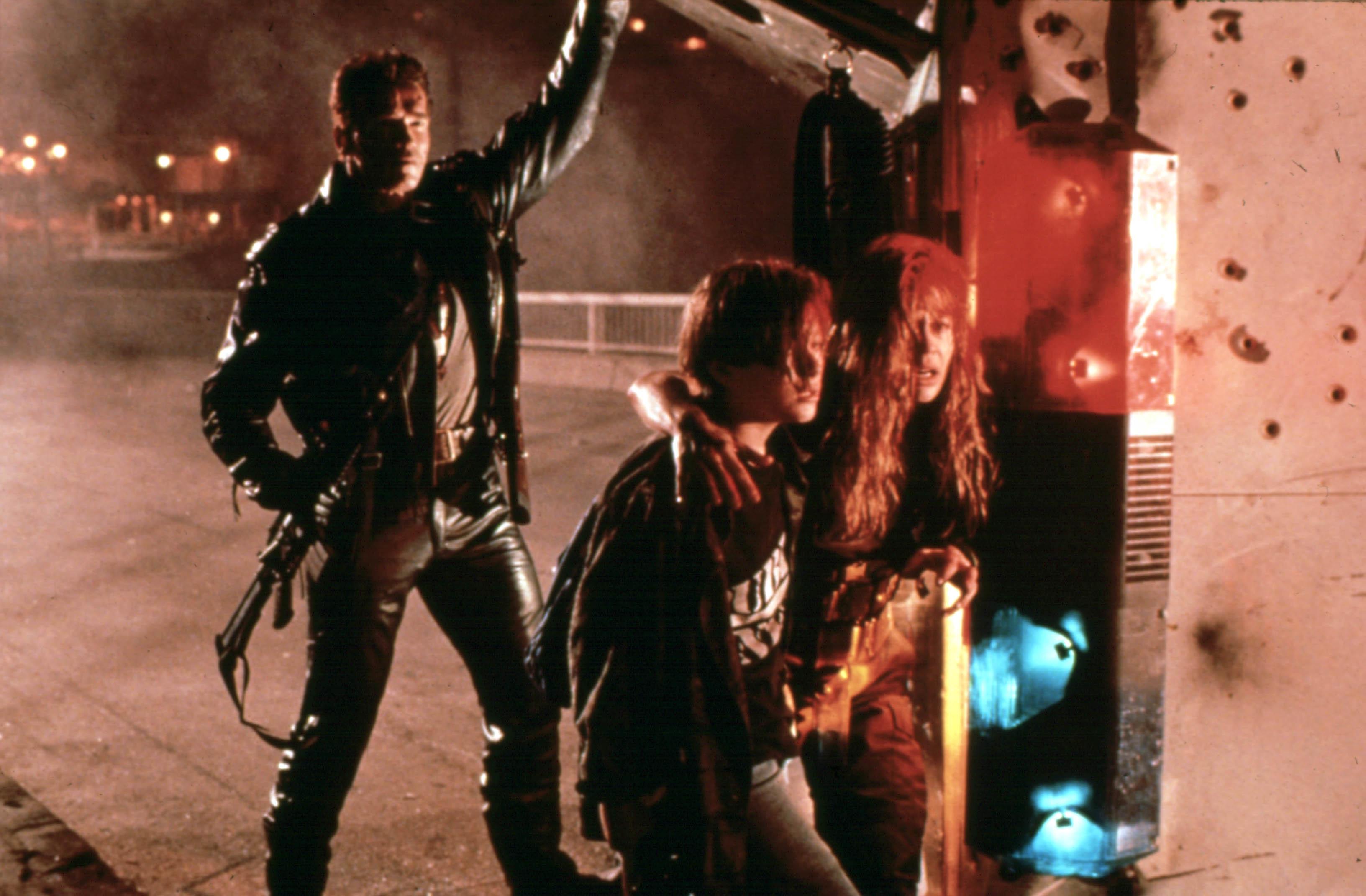 "Arnold Schwarzenegger,  Edward Furlong and Linda Hamilton starred in 1991's ""Terminator 2: Judgement Day."""