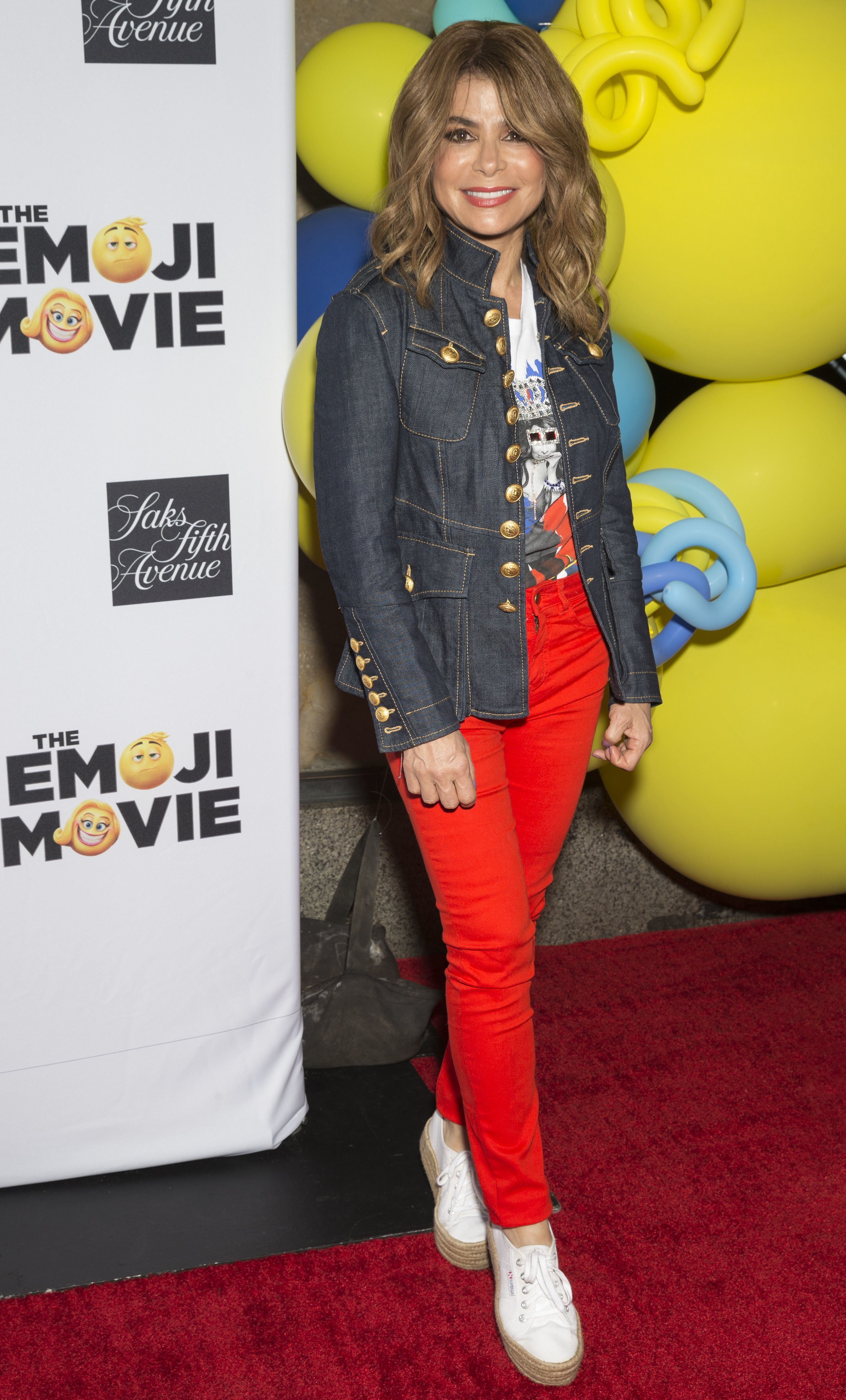 """Paula Abdul attends """"The Emoji Movie"""" film premiere at Saks Fifth Avenue in New York City on July 17, 2017."""