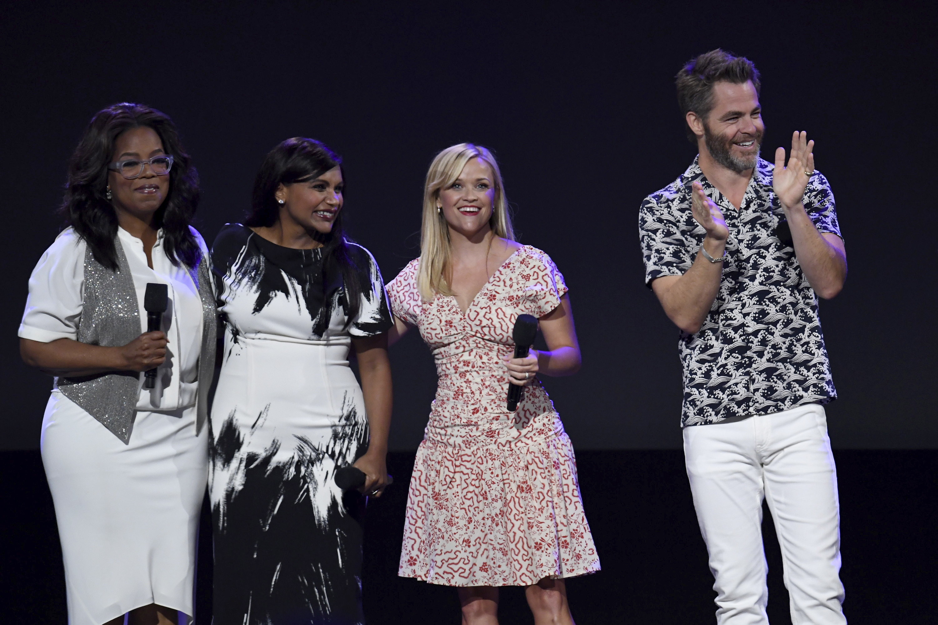 Oprah Winfrey, Mindy Kaling, Reese Witherspoon and Chris Pine attend Disney's Coverage Of The D23 Expo 2017 in Anaheim, Calif., on July 15, 2017.