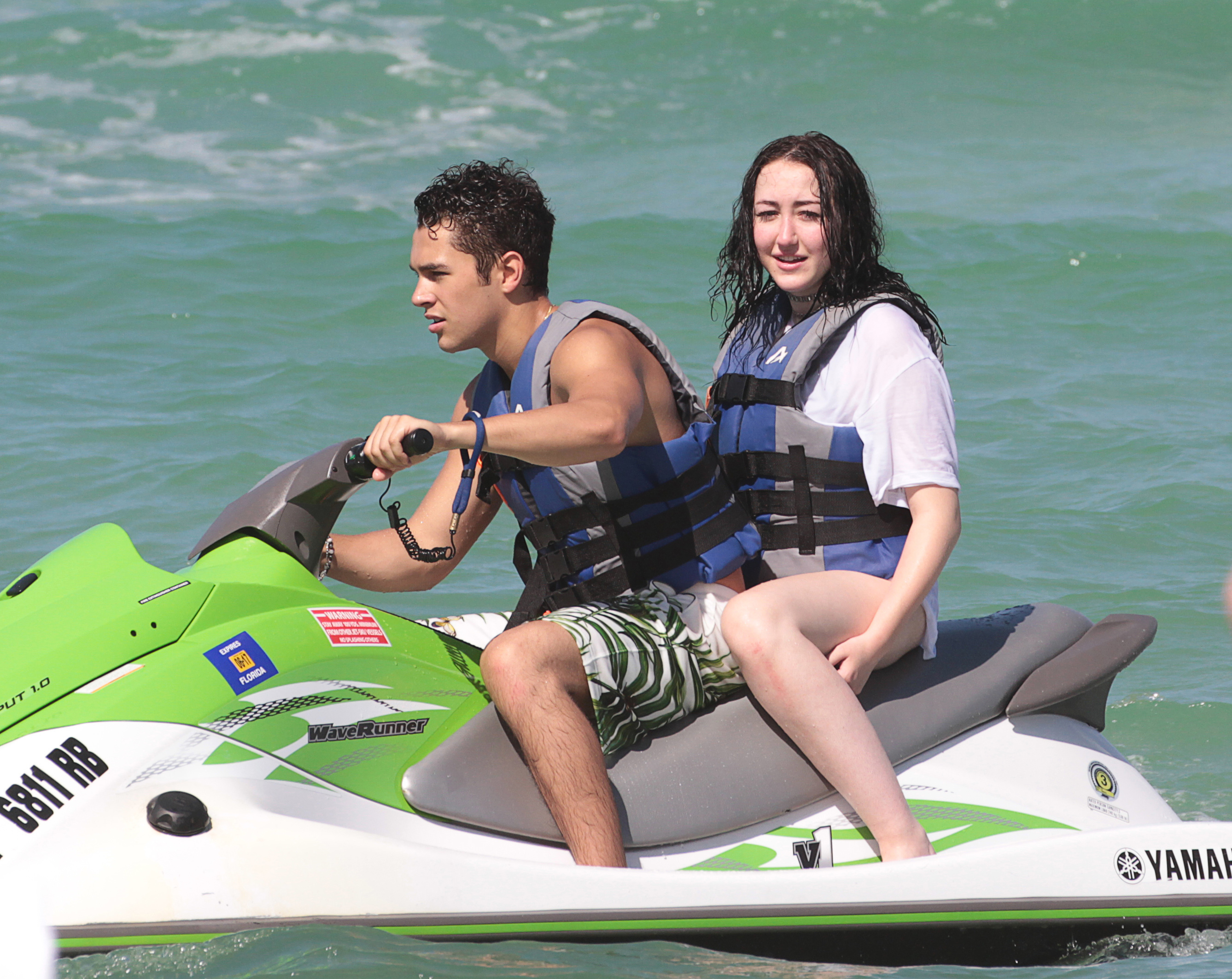 Austin Mahone and Noah Cyrus go jet skiing in Miami on July 16, 2017.