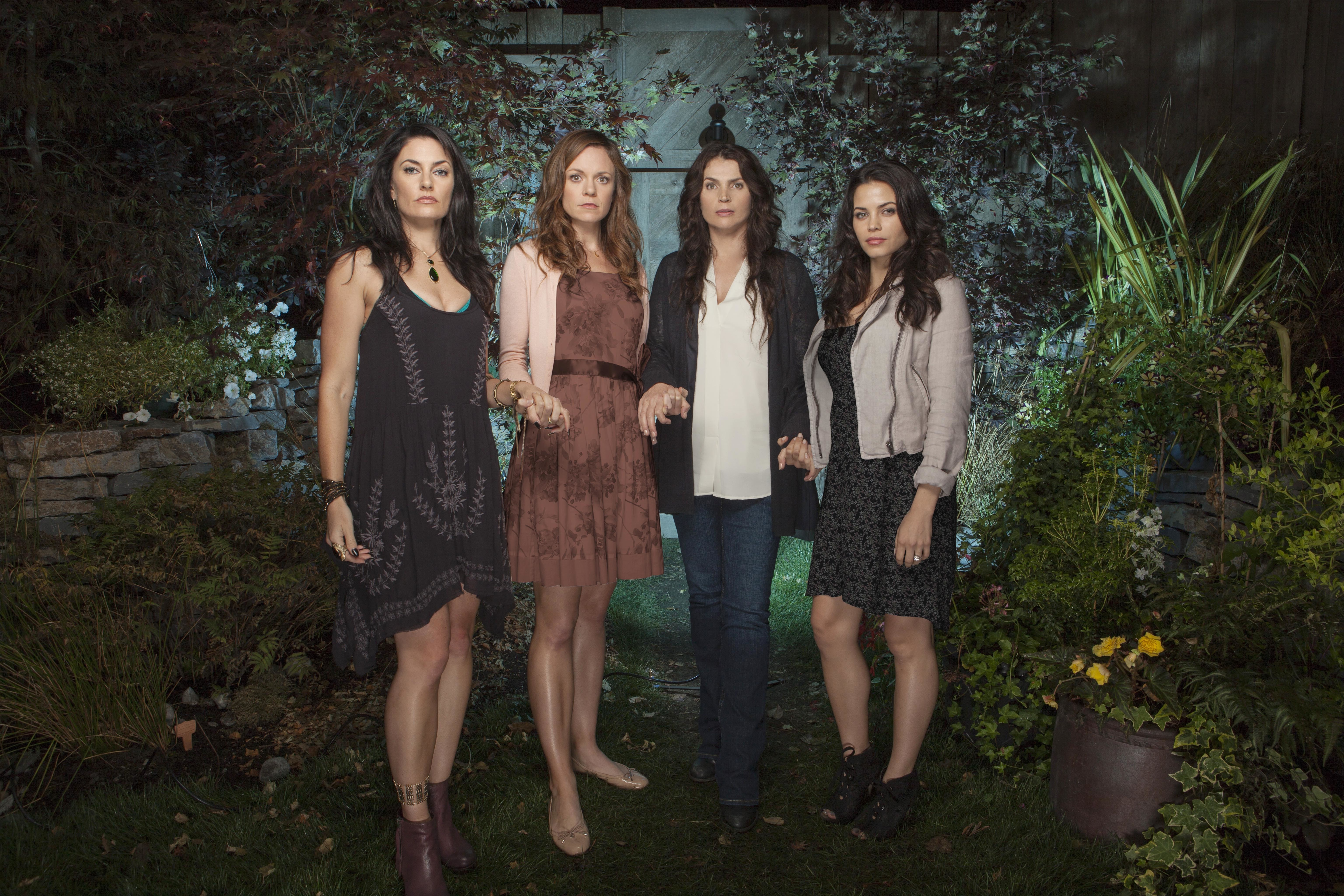 """Madchen Amick, Rachel Boston, Julia Ormond and Jenna Dewan Tatum appear in a promotional photo for Lifetime's """"Witches of East End,"""" which aired from 2013 to 2014."""