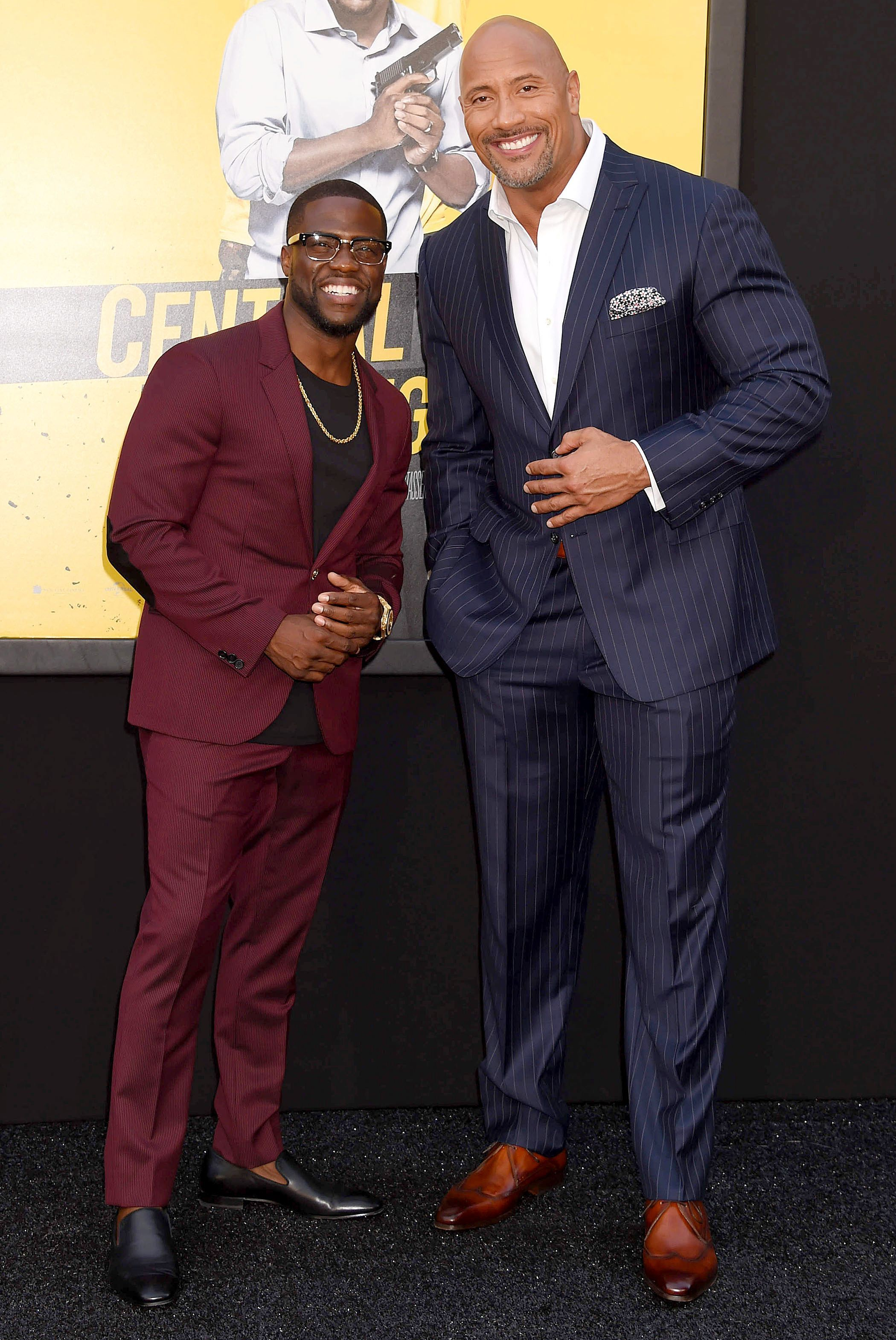 "Kevin Hart, Dwayne Johnson attend the premiere of ""Central Intelligence"" in Los Angeles on June 10, 2016."