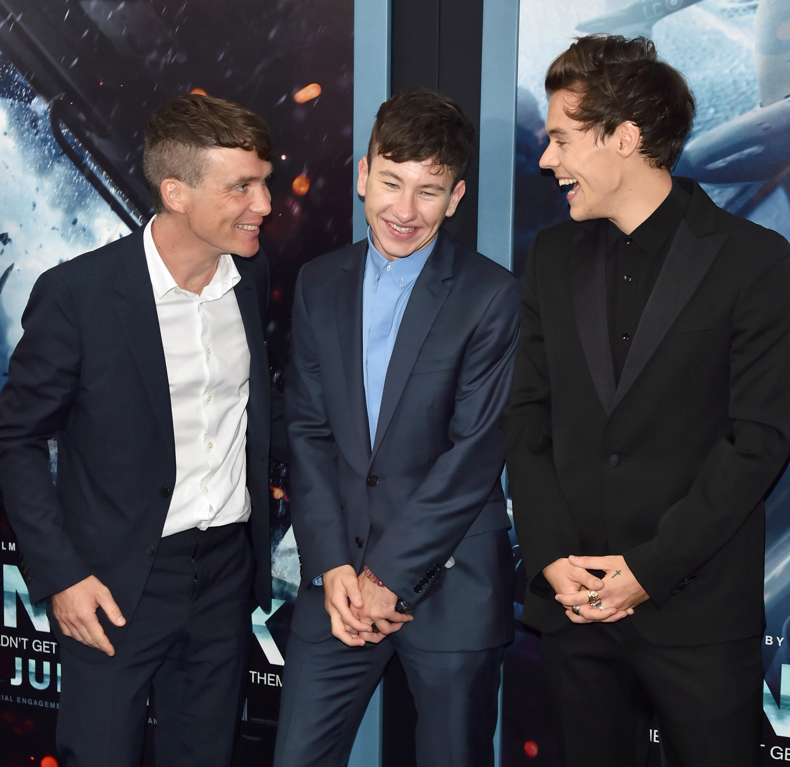 """Cillian Murphy, Barry Keoghan and Harry Styles attend the """"Dunkirk"""" film premiere in New York City on July 18, 2017."""
