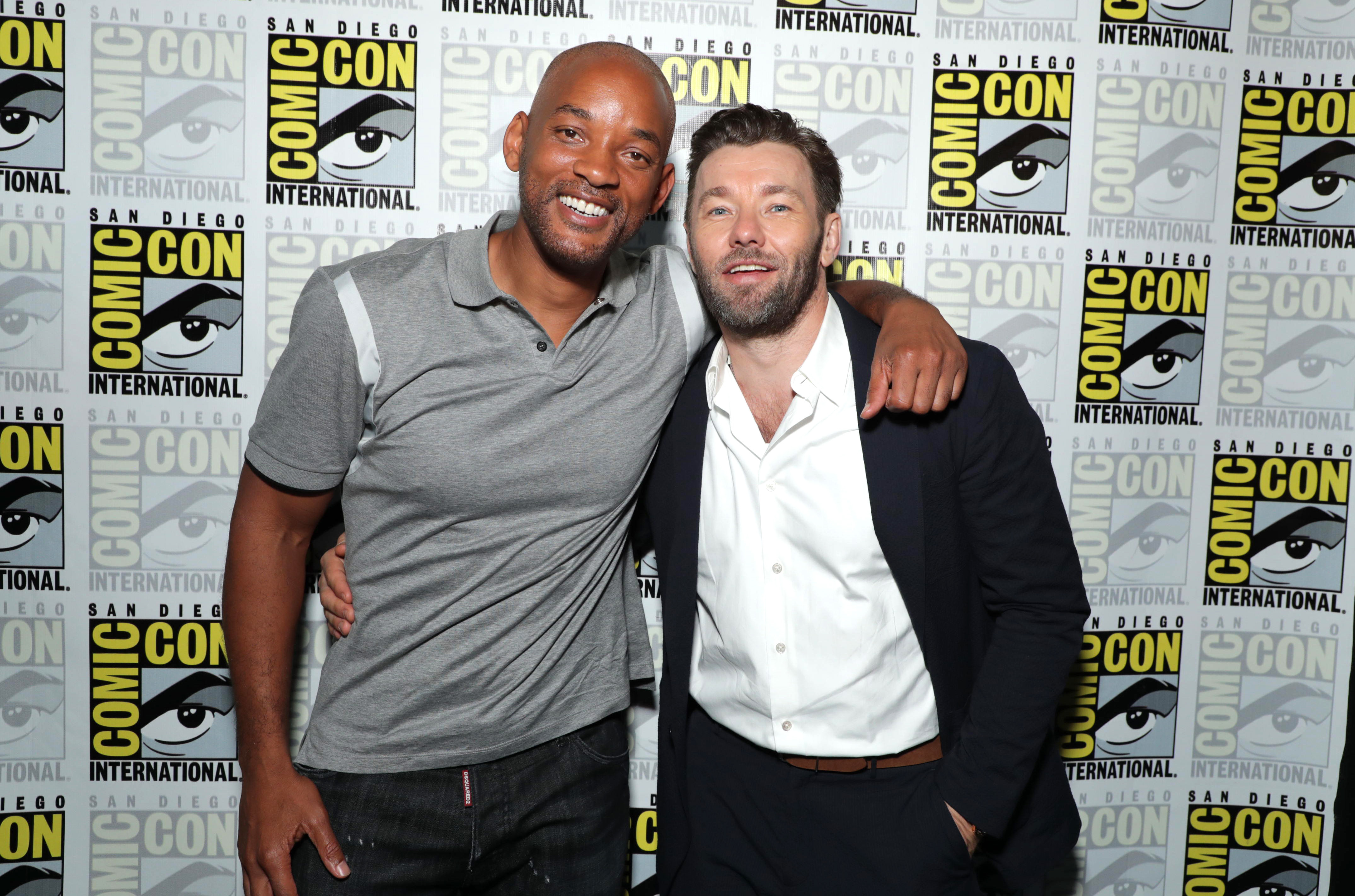 "Will Smith and Joel Edgerton attend the ""Bright"" panel at Comic Con in San Diego, Calif., on July 20, 2017."