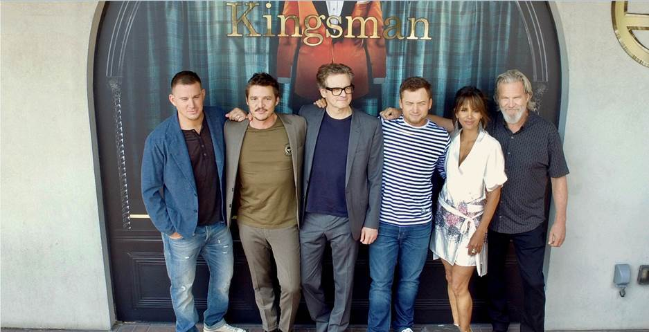 "The cast of ""Kingsman: The Golden Circle""    Channing Tatum,  Pedro Pascal, Colin Firth, Taron Egerton, Halle Berry and Jeff Bridges    pose at the Hard Rock Hotel San Diego during Comic Con on July 19, 2017."