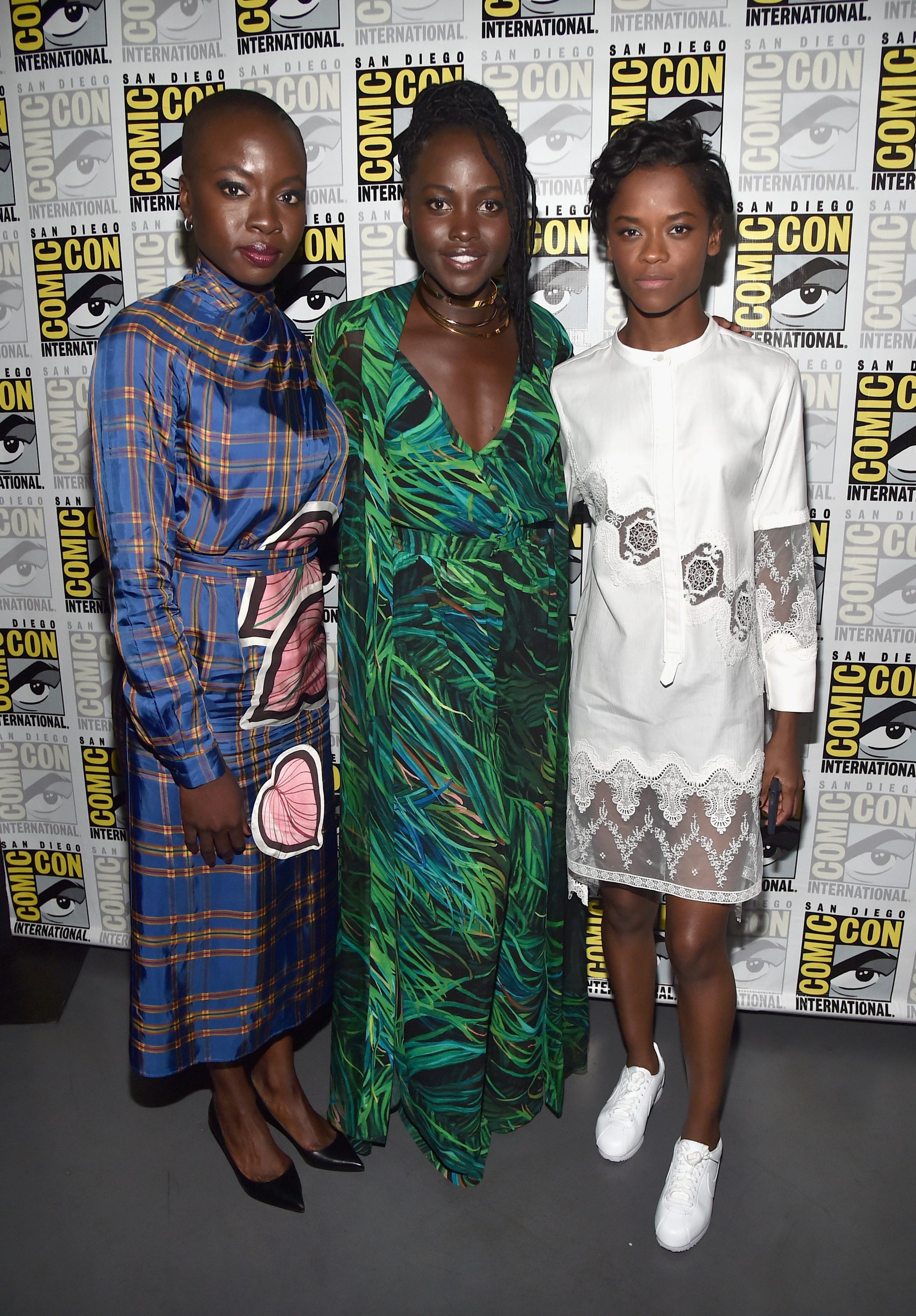 "Danai Gurira, Lupita Nyong'o and Letitia Wright from ""Black Panther"" pose at the San Diego Comic Con International Marvel Studios Panel in Hall H on July 22, 2017."