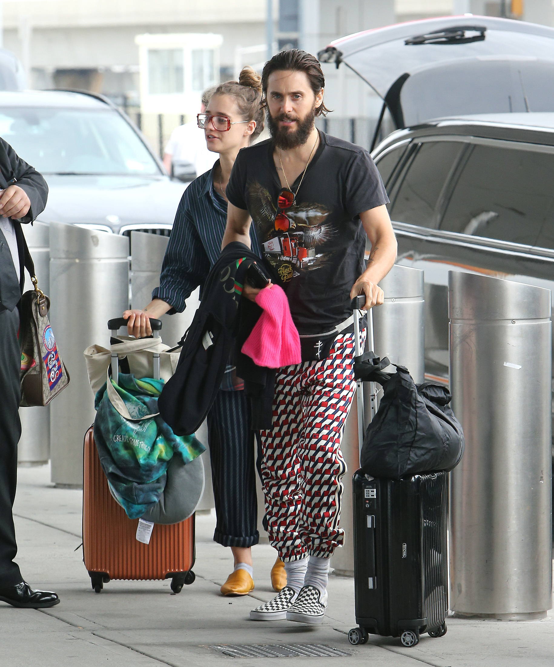 Jared Leto and a mystery girl were seen arriving at JFK airport in New York City on July 24, 2017.
