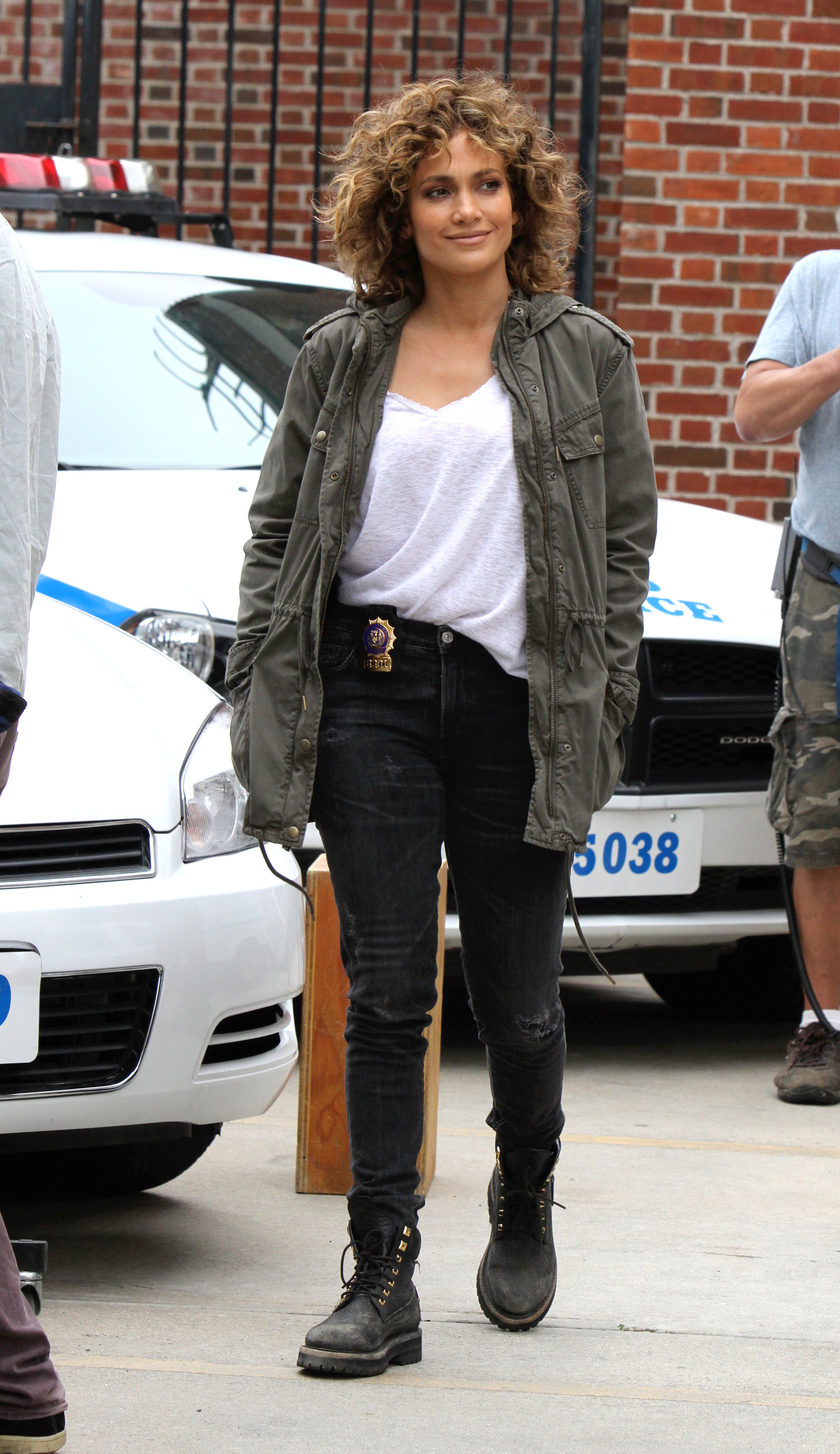 "Jennifer Lopez films on the set of ""Shades of Blue"" in New York City on July 25, 2017."