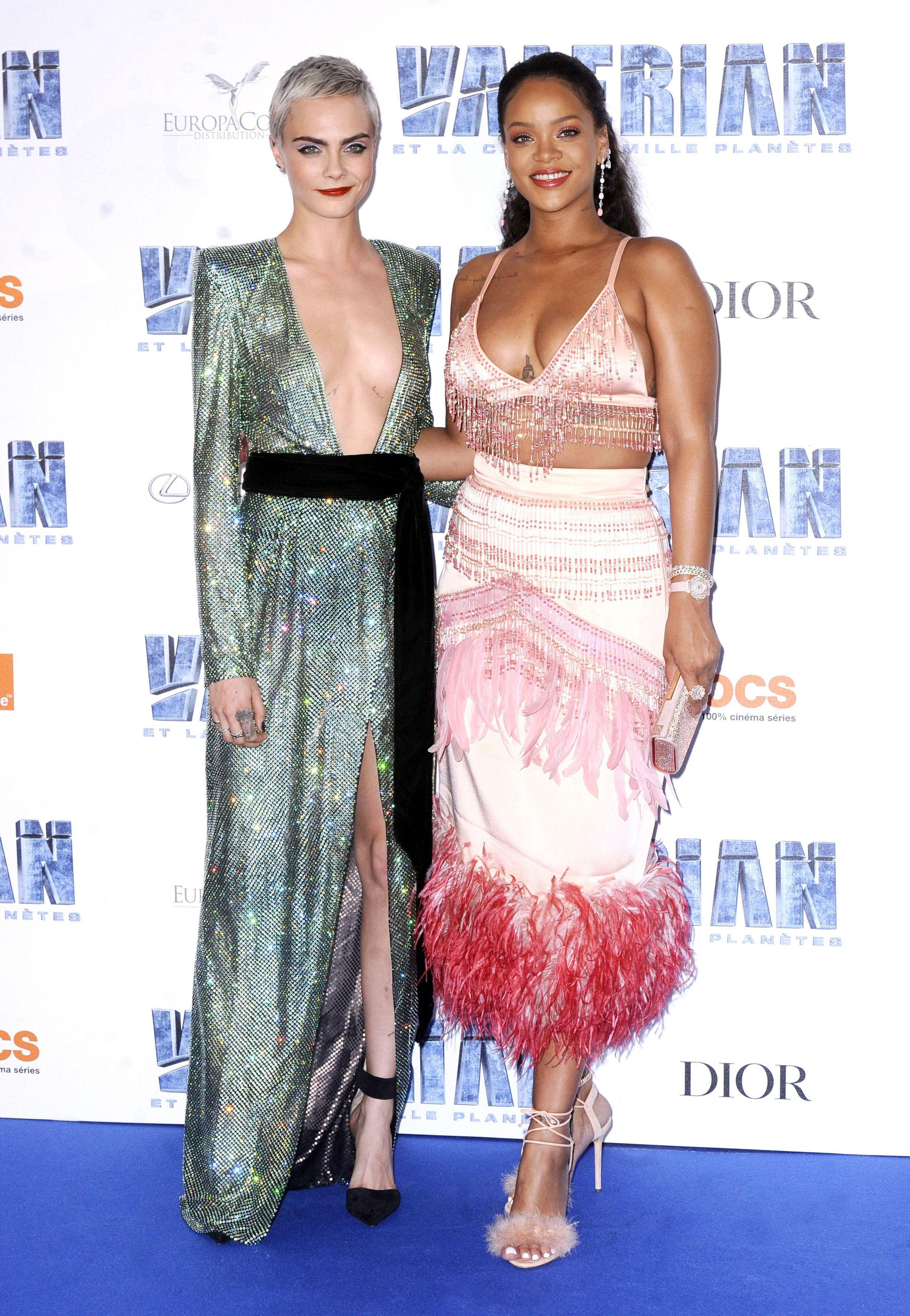 "Rihanna and Cara Delevingne attend the ""Valerian And The City Of A Thousand Planets"" film premiere in Paris on July 25, 2017."