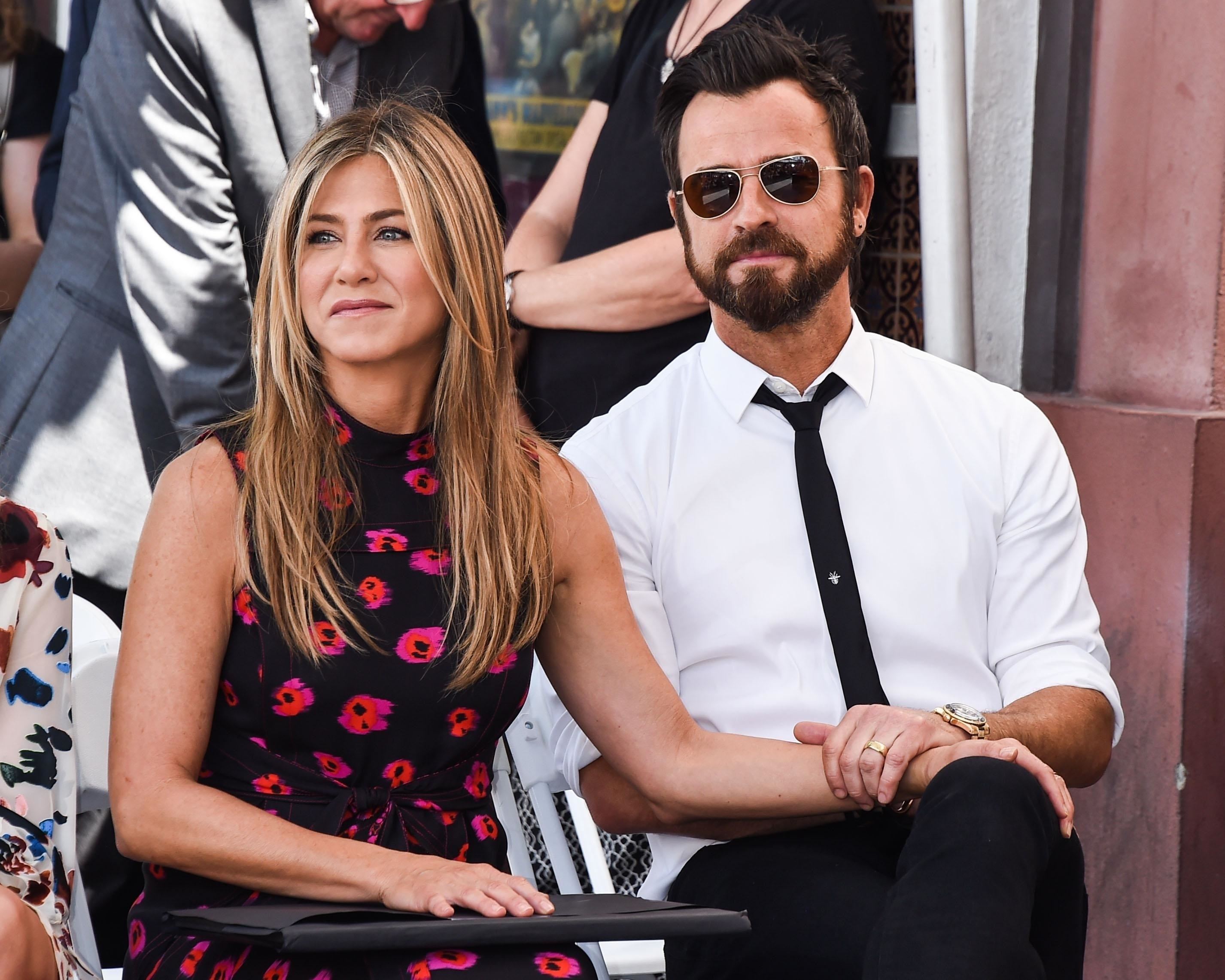 Jennifer Aniston and Justin Theroux attend The Hollywood Walk of Fame Star ceremony honoring actor Jason Bateman in Hollywood, Calif., on July 26, 2017.