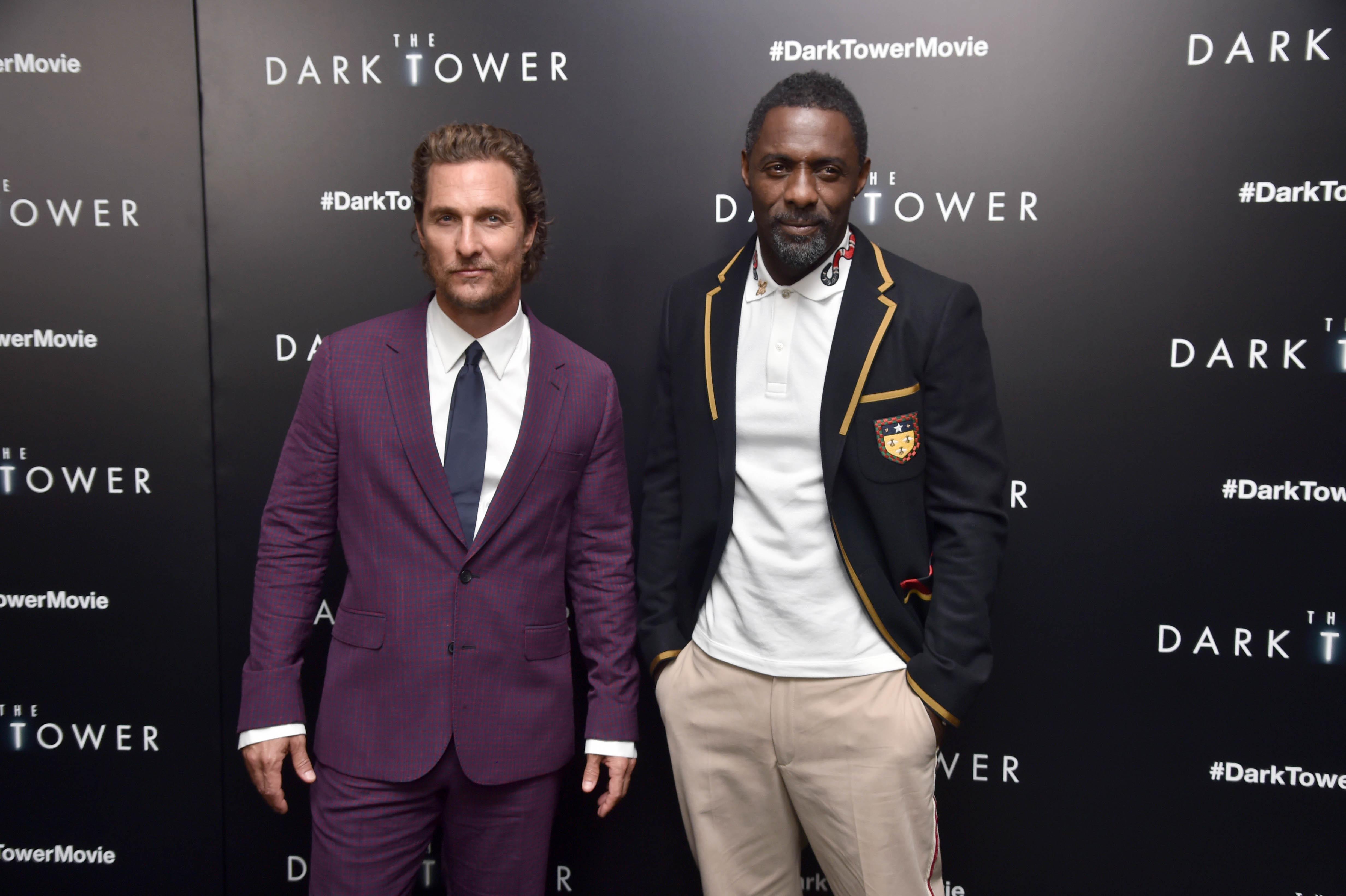 "Matthew McConaughey and Idris Elba attend ""The Dark Tower"" film premiere in New York City on July 31, 2017."