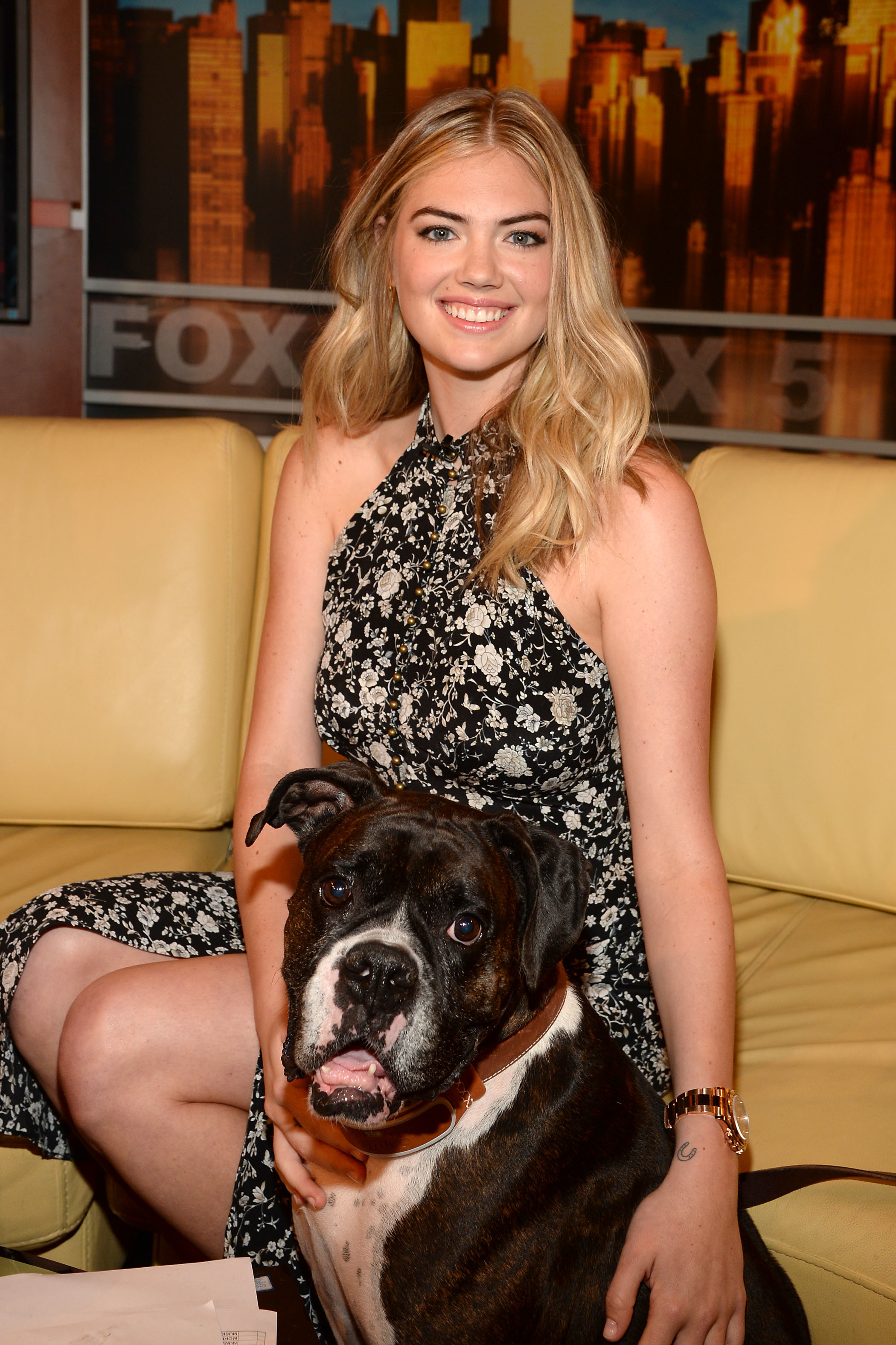 "Kate Upton and her dog Harley appear on ""Good Day New York"" Fox 5 on Aug. 1, 2017."