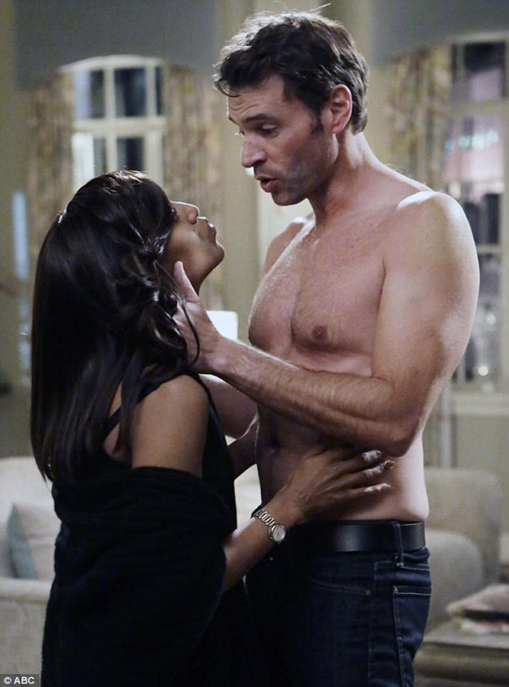 """Kerry Washington and Scott Foley share a scene on an undated episode of ABC's """"Scandal."""""""