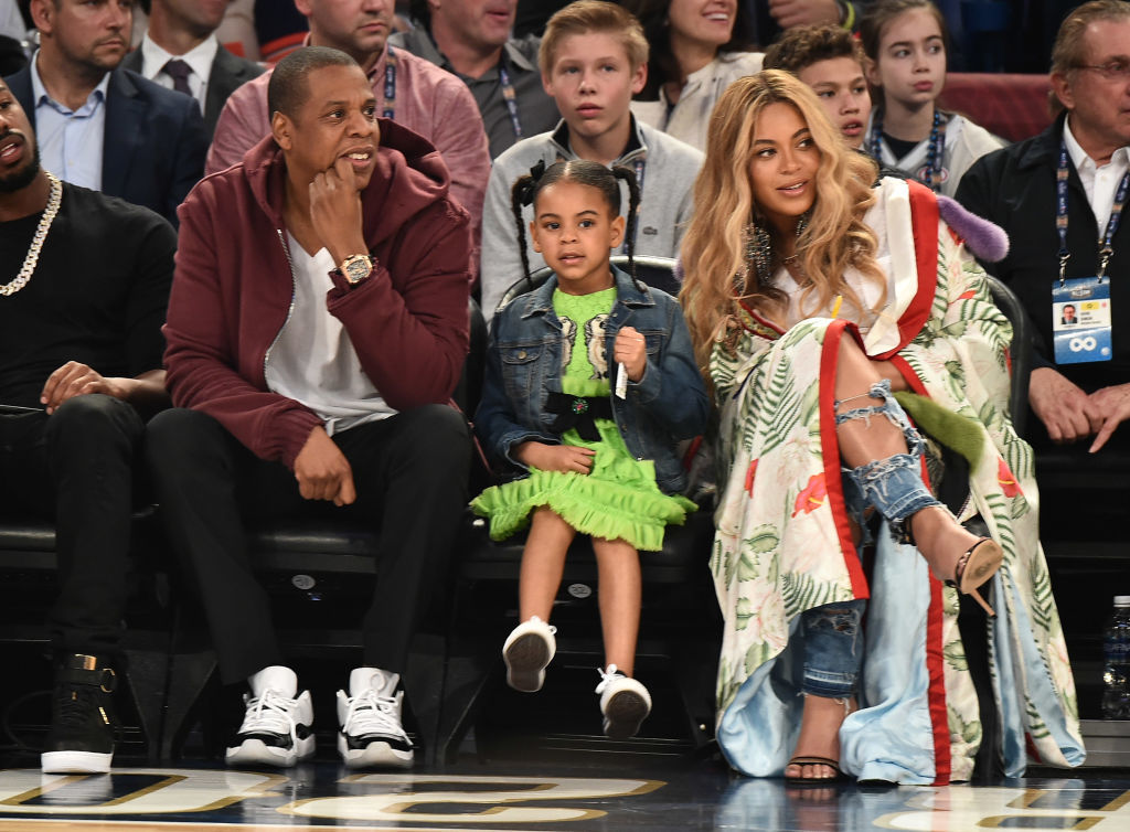 JAY Z, Blue Ivy Carter and Beyonce Knowles attend the 66th NBA All Star Game at Smoothie King Center in New Orleans on February 19, 2017 in New Orleans.