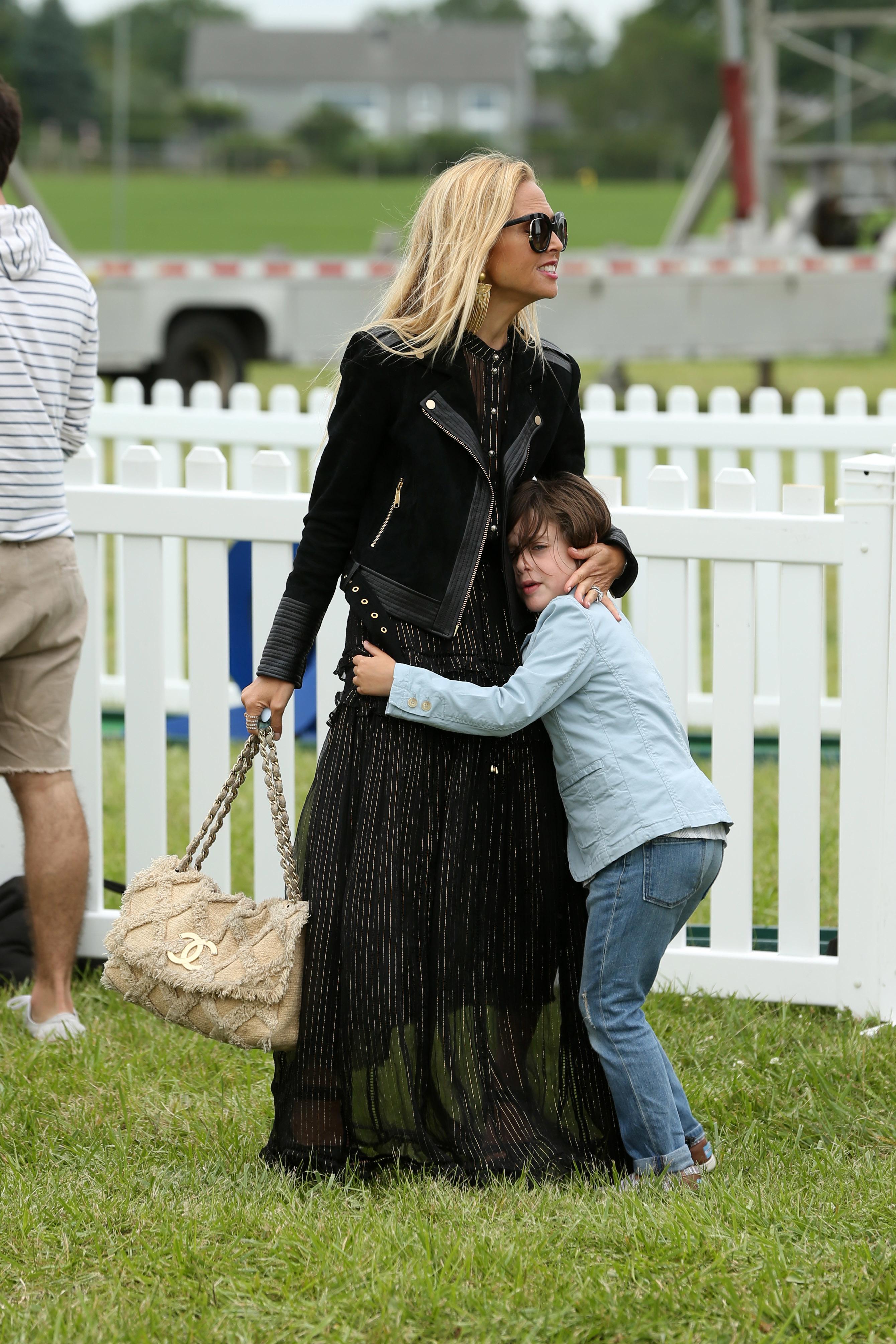 Rachel Zoe got a sweet hug from son Skyler Berman while at an event in Bridgehampton, New York, on July 29, 2017.