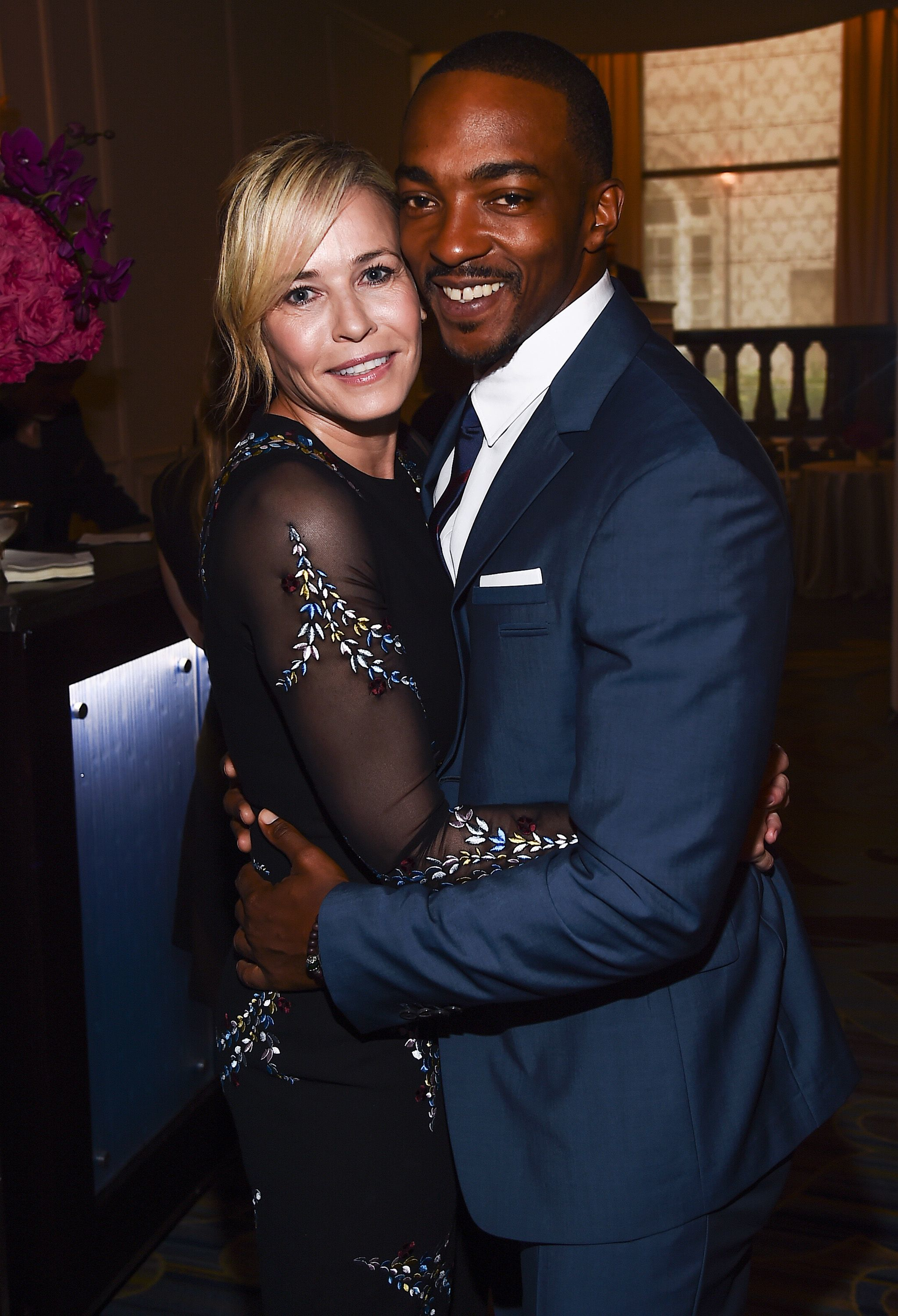 Chelsea Handler hugged Anthony Mackie while attending the HFPA Grants Banquet in Los Angeles on Aug. 2, 2017.