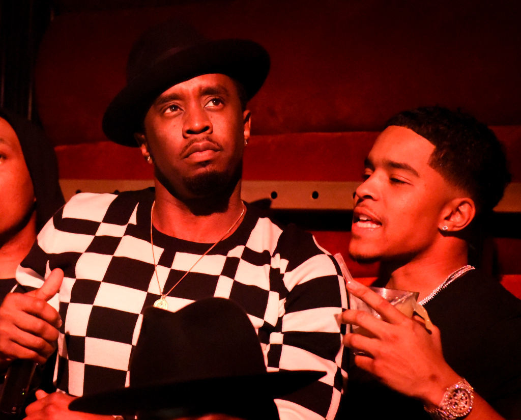 Diddy performs on stage with son Justin Combs at WanderLuxxe at a pre BET Awards event with performance by DIDDY in Los Angeles at Nightingale in Los Angeles on June 24, 2017.