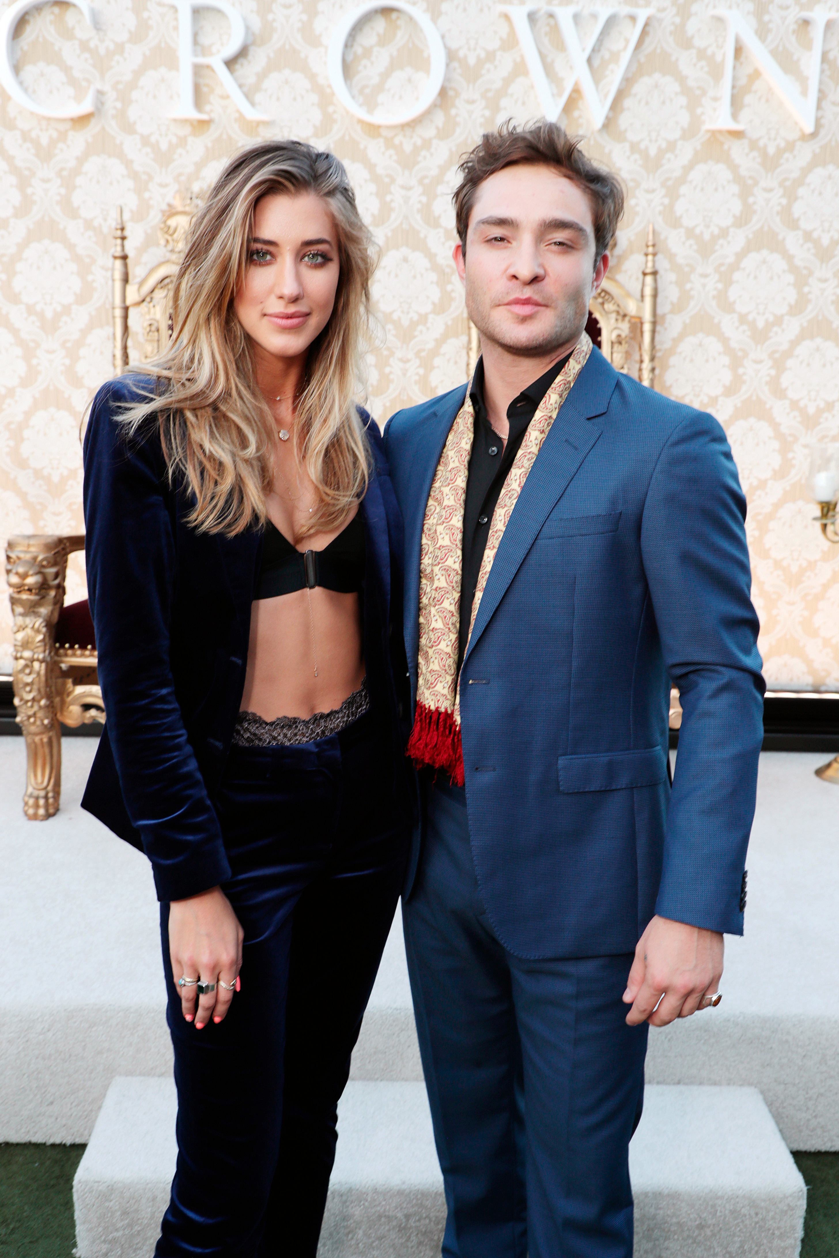 """Jessica Serfaty and Ed Westwick attend """"The Crown"""" celebration & Q&A at The London and WGA Theater in Los Angeles on Aug. 10, 2017."""
