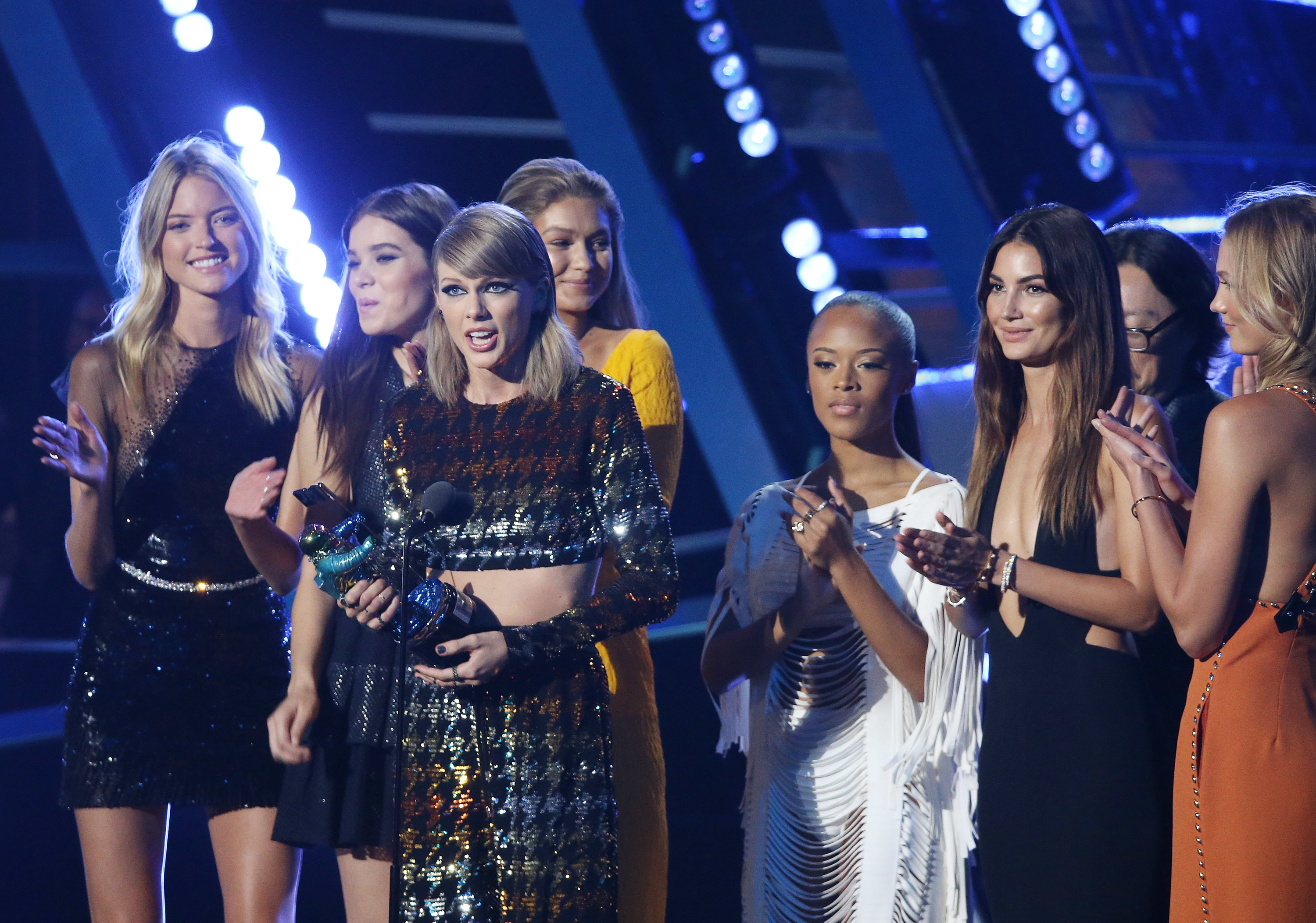 "Taylor Swift and her ""Bad Blood"" video cast appear on stage at the MTV Video Music Awards at the Microsoft Theater in Los Angeles on Aug. 30, 2015."