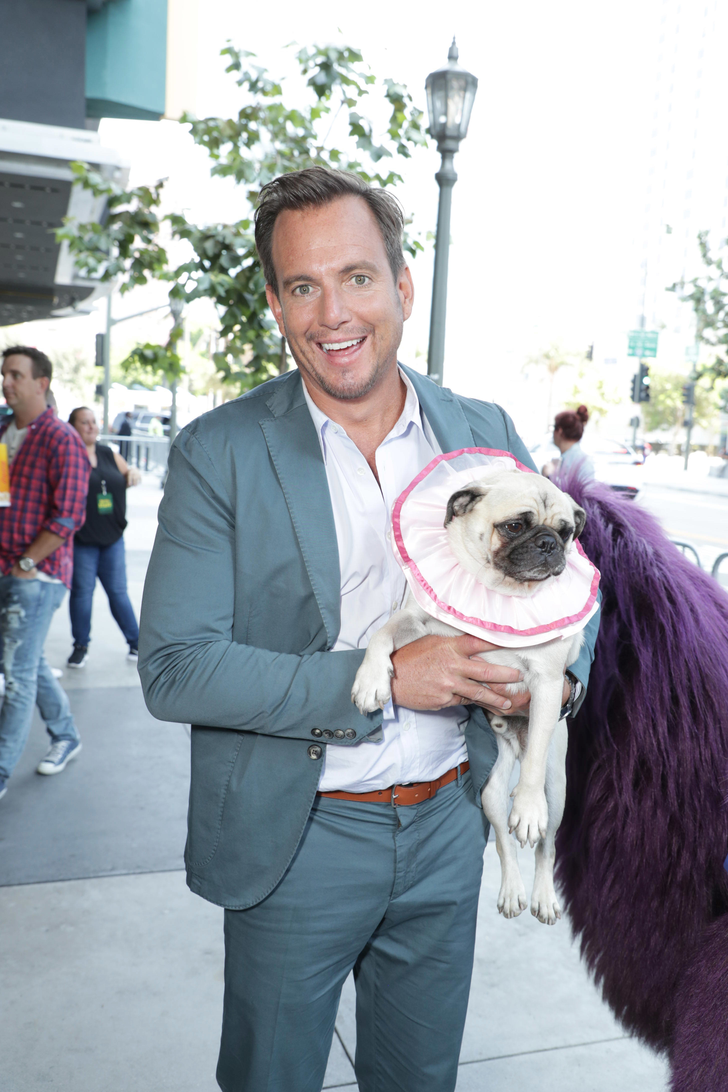 "Will Arnett was spotted with Precious the pug at the premiere of ""The Nut Job 2"" in Los Angeles on Aug. 6, 2017."