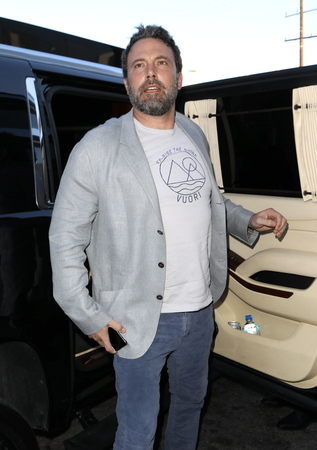 Ben Affleck arrives solo in a chauffeured vehicle to a restaurant in Los Angeles on his birthday on Aug. 15, 2017.