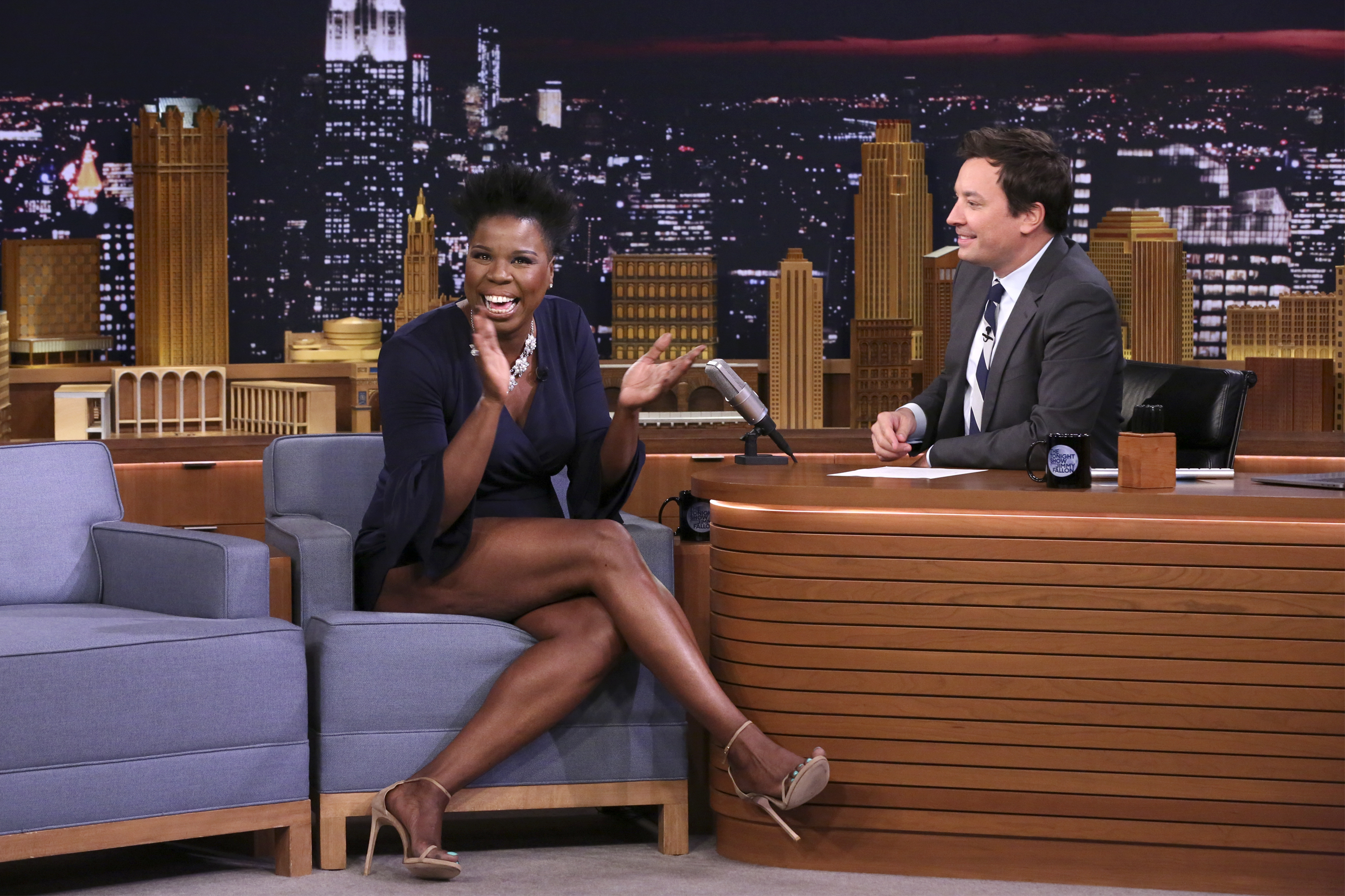 Comedian Leslie Jones during an interview with host Jimmy Fallon on Aug. 15, 2017.