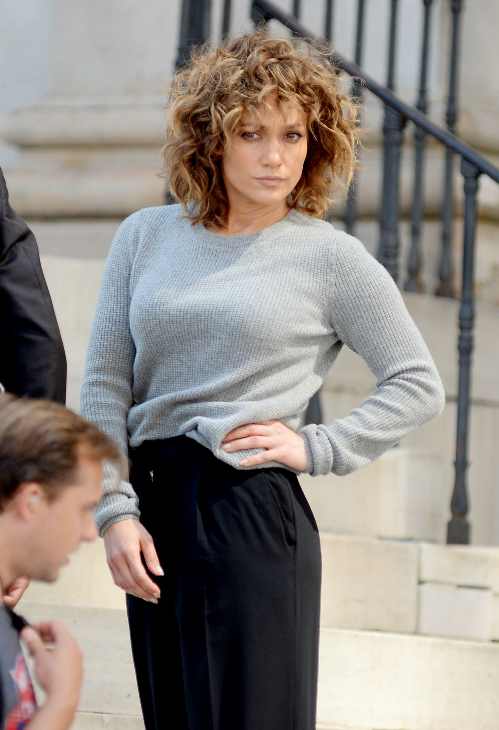 "Jennifer Lopez appears on set filming ""Shades of Blue"" in New York City on Aug. 16, 2017."