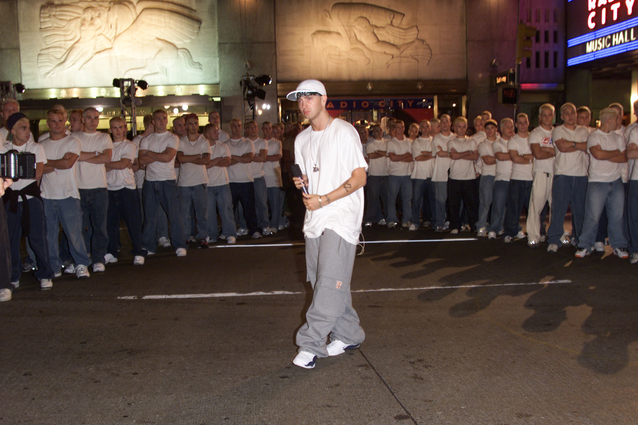 Eminem and his look a likes at  the 2000 MTV Video Music Awards in New York City on Sept. 6, 2000.