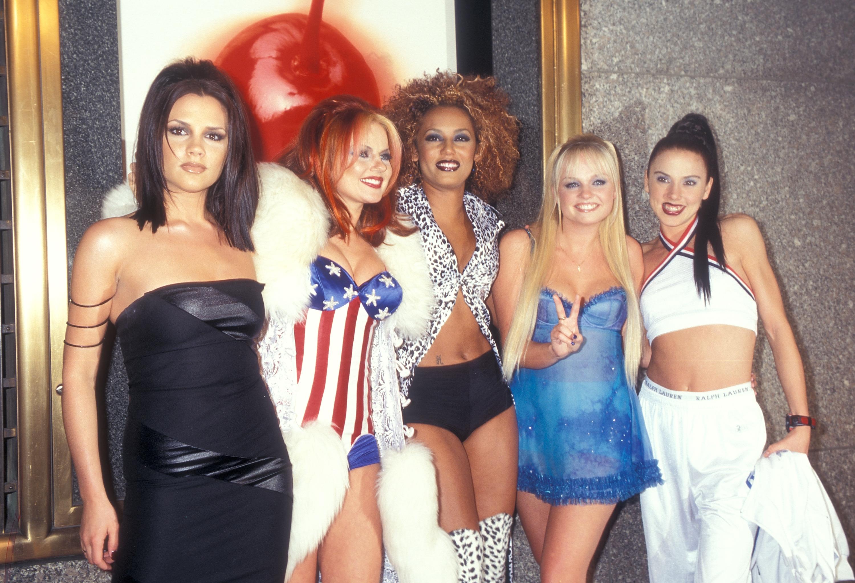 The Spice Girls Spice Girls:Victoria Bekcham Geri Halliwell Melanie Brown  Emma Bunton  Melanie Chisholm attend the 14th Annual MTV Video Music Awards in New York City on Sept. 4, 1997.