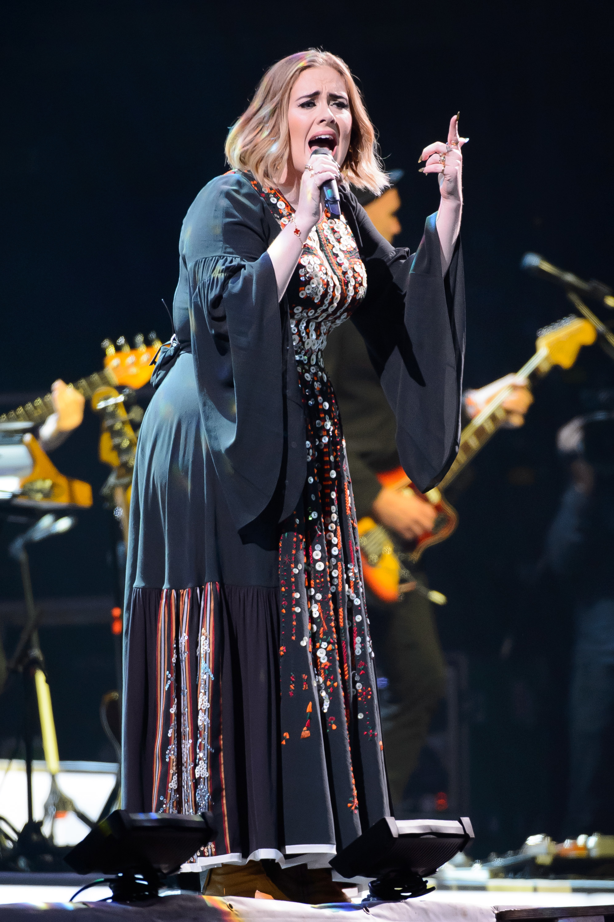 Adele performing on the Pyramid Stage at the Glastonbury Festival in the UK on June 25, 2016.
