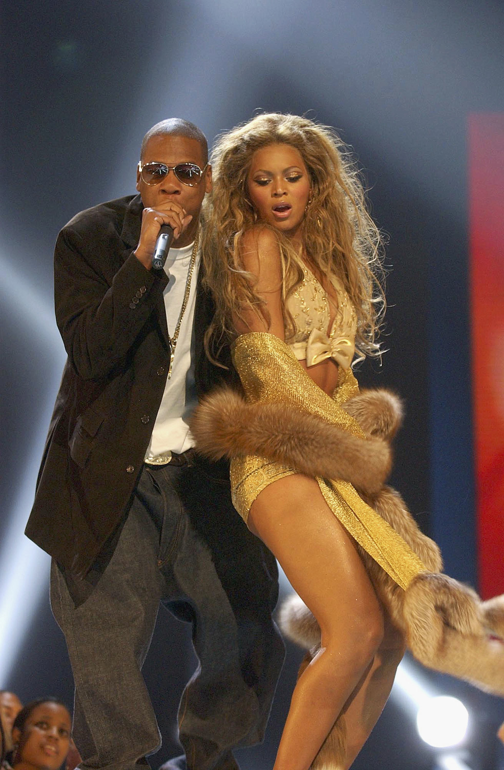 Beyonce and Jay Z performing at the MTV Video Music Awards in New York City on Aug. 28, 2003.